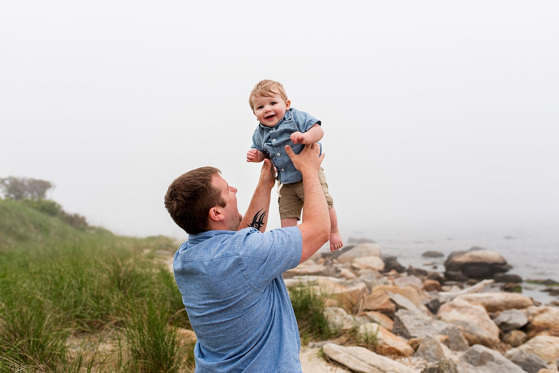 Dad with infant son during CT family photography