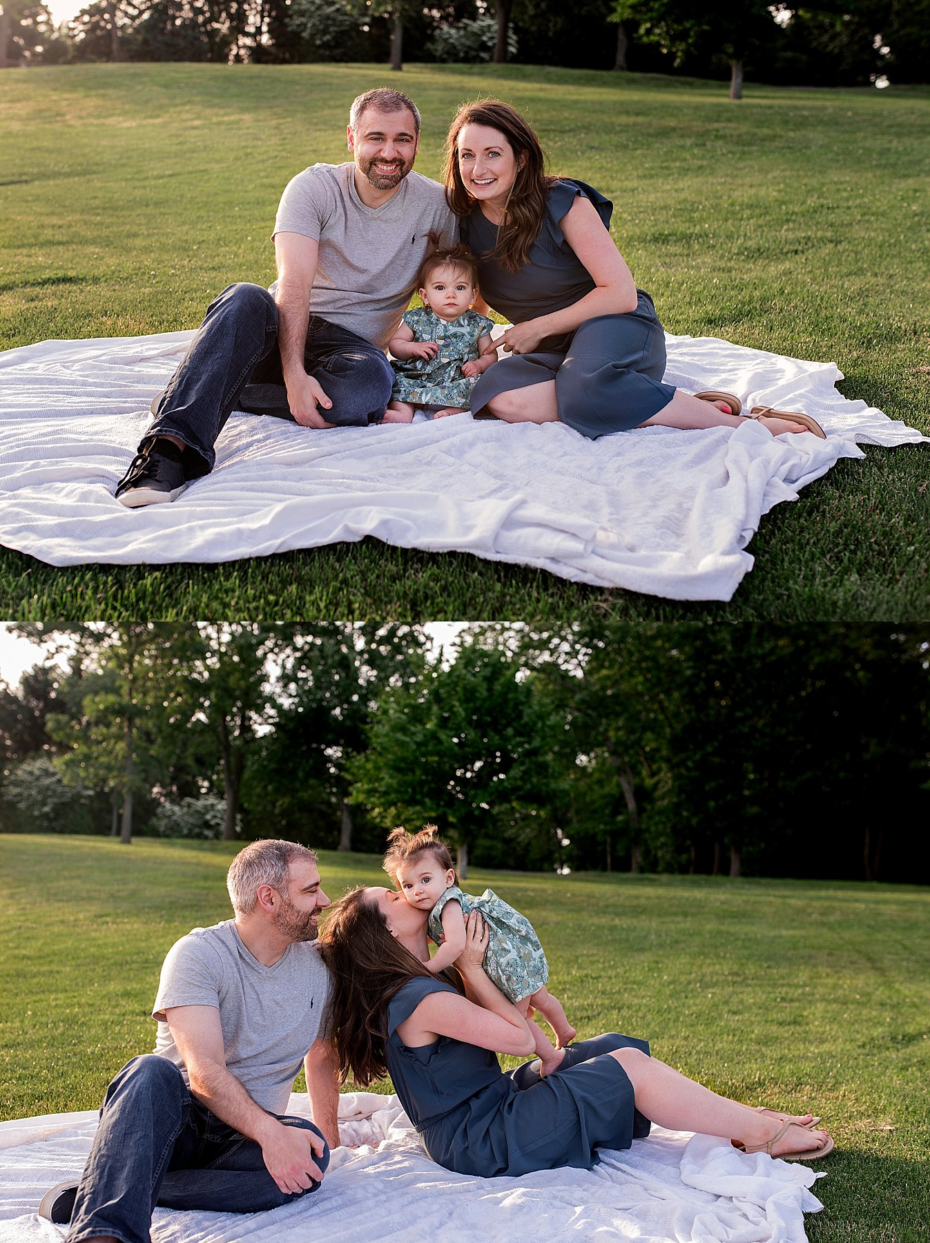 family portraits on a blanket in the grass. ct baby photography.