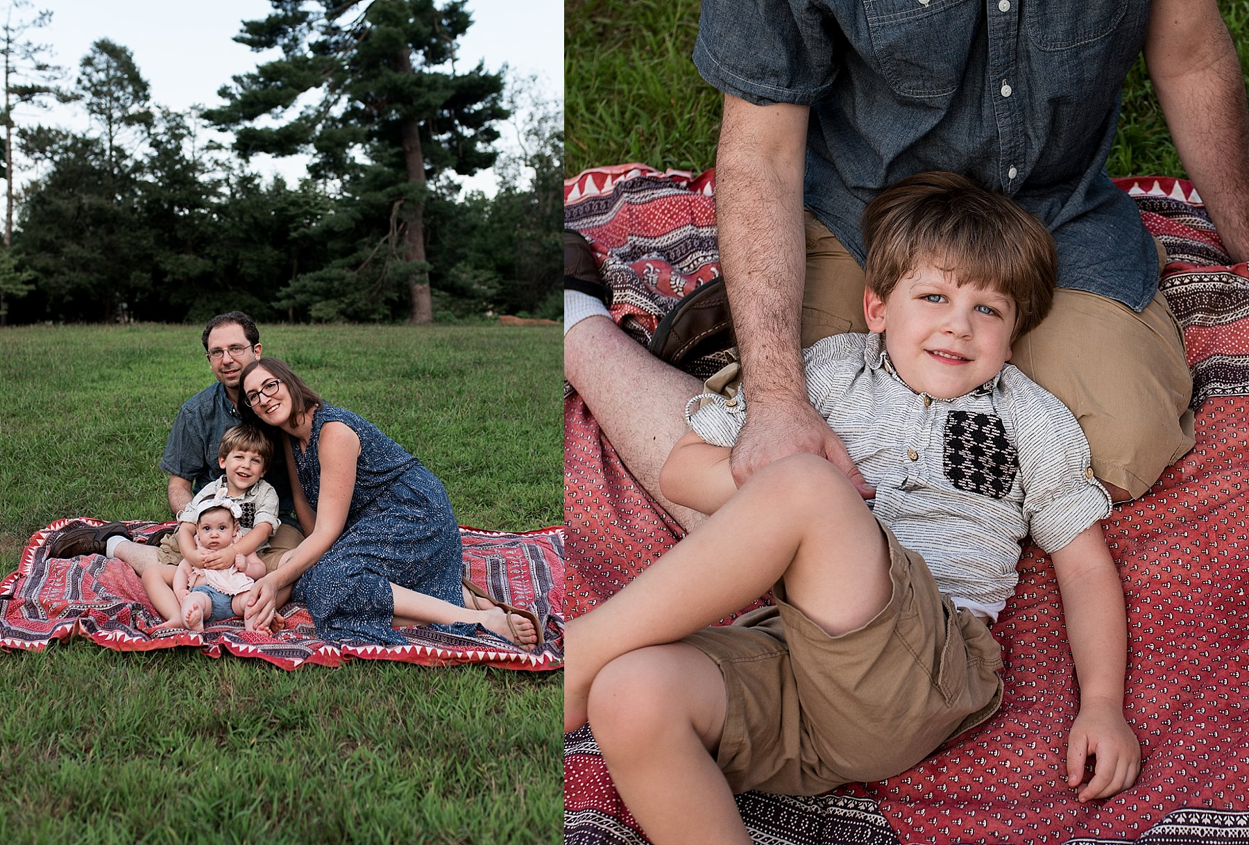 connecticut family sitting on blanket during photo session