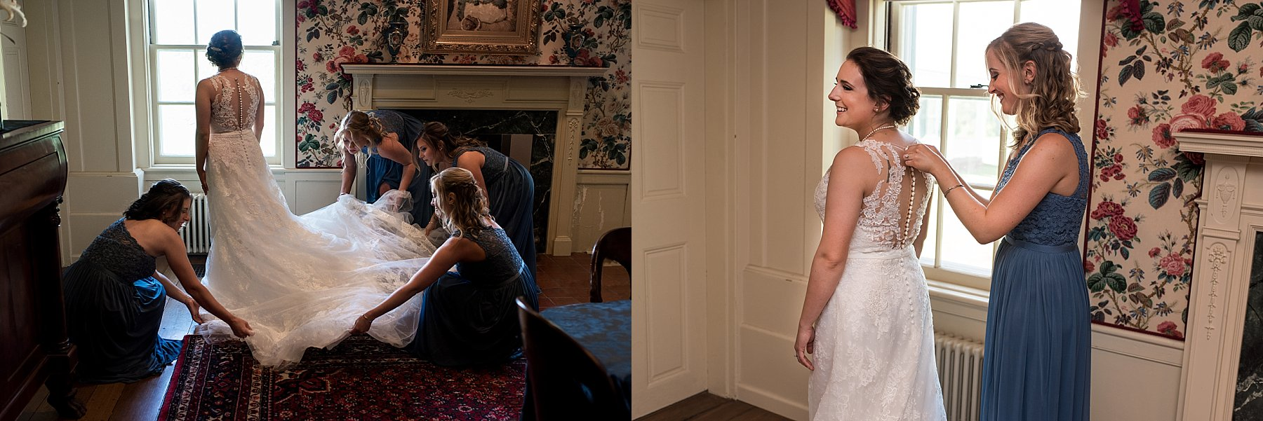 Bride getting ready in bridal suite at the Hillstead Museum in Connecticut