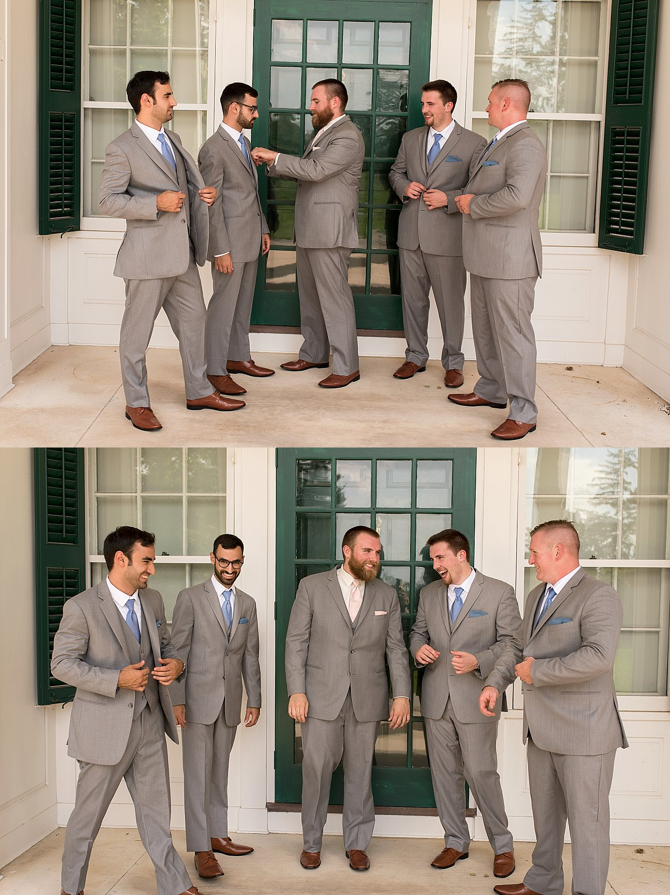 Groom and groomsmen getting ready for wedding in Hartford County, CT