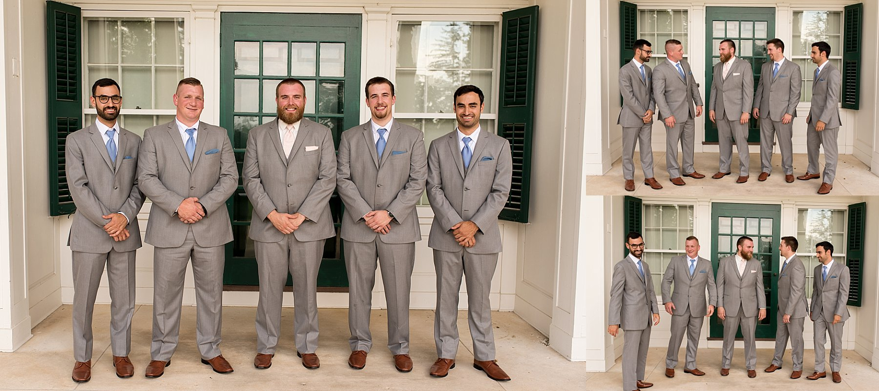Groom and groomsmen getting ready on wedding day in Connecticut