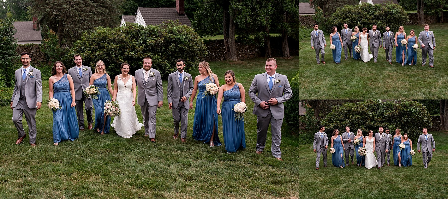 bride and groom with wedding party portriats