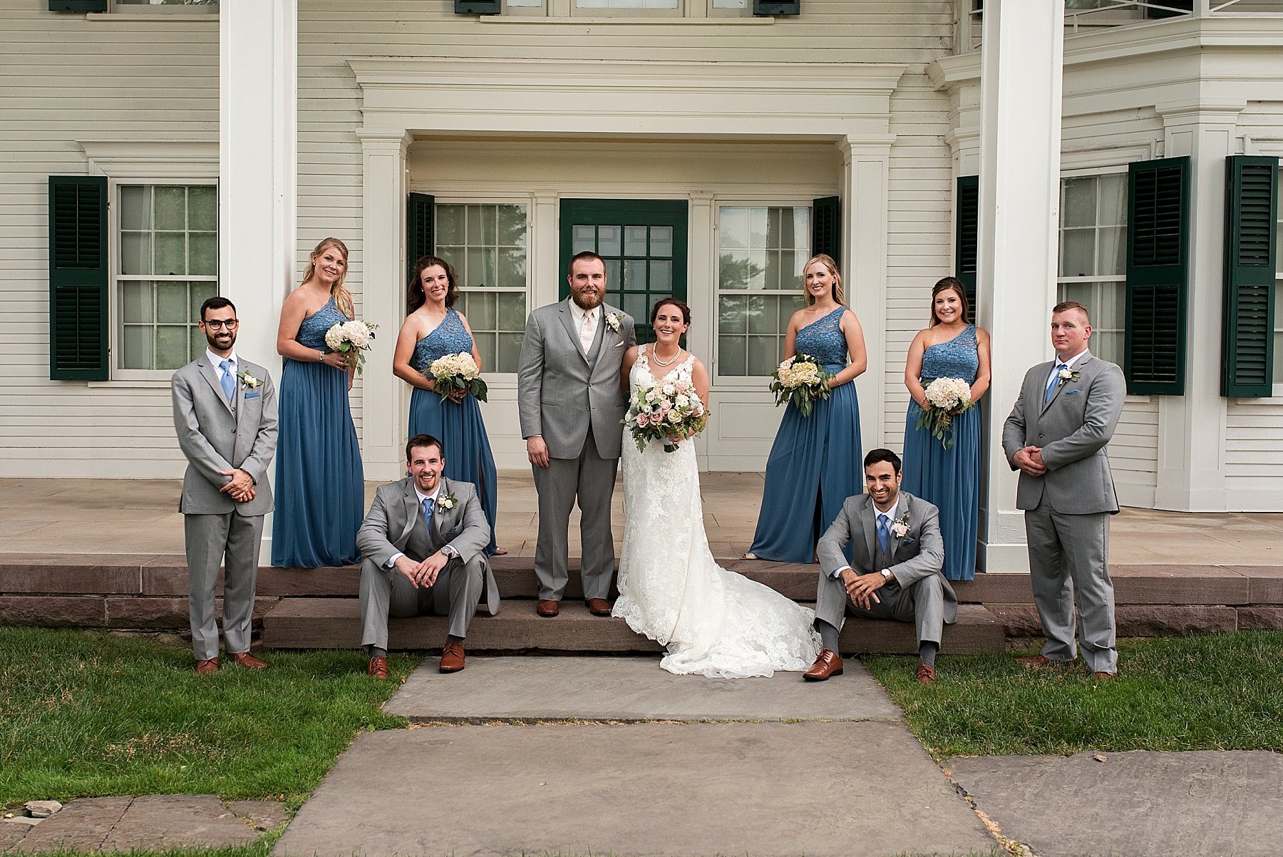 wedding party portraits at the Hillstead Museum