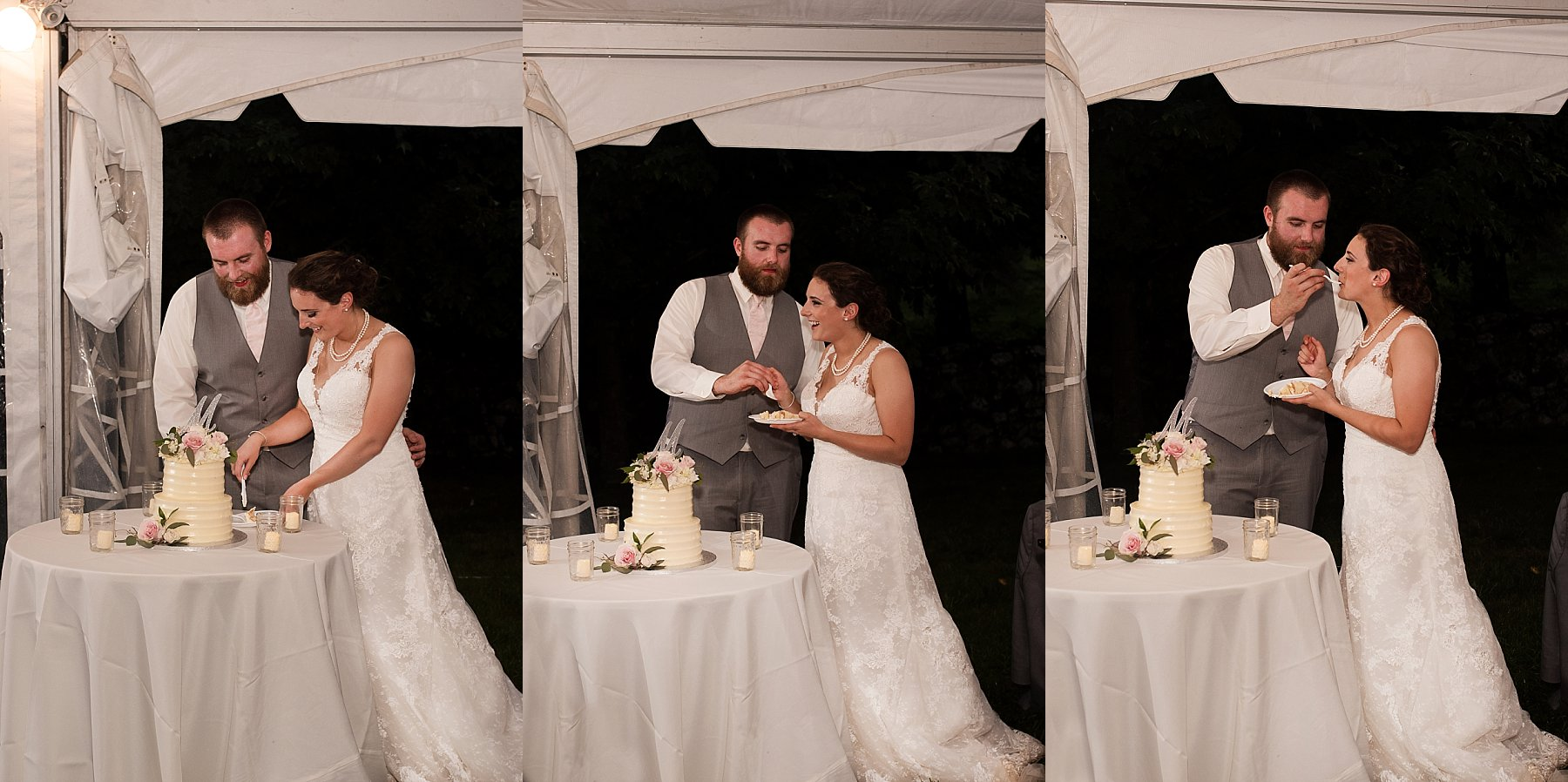 husband and wife cutting at at Connecticut wedding