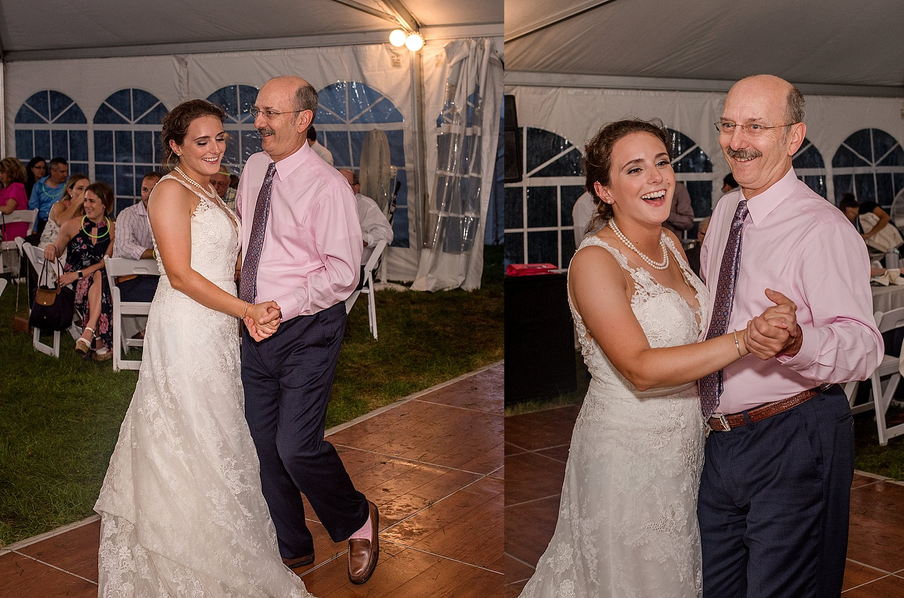 father and daughter dance during reception at the hillstead museum