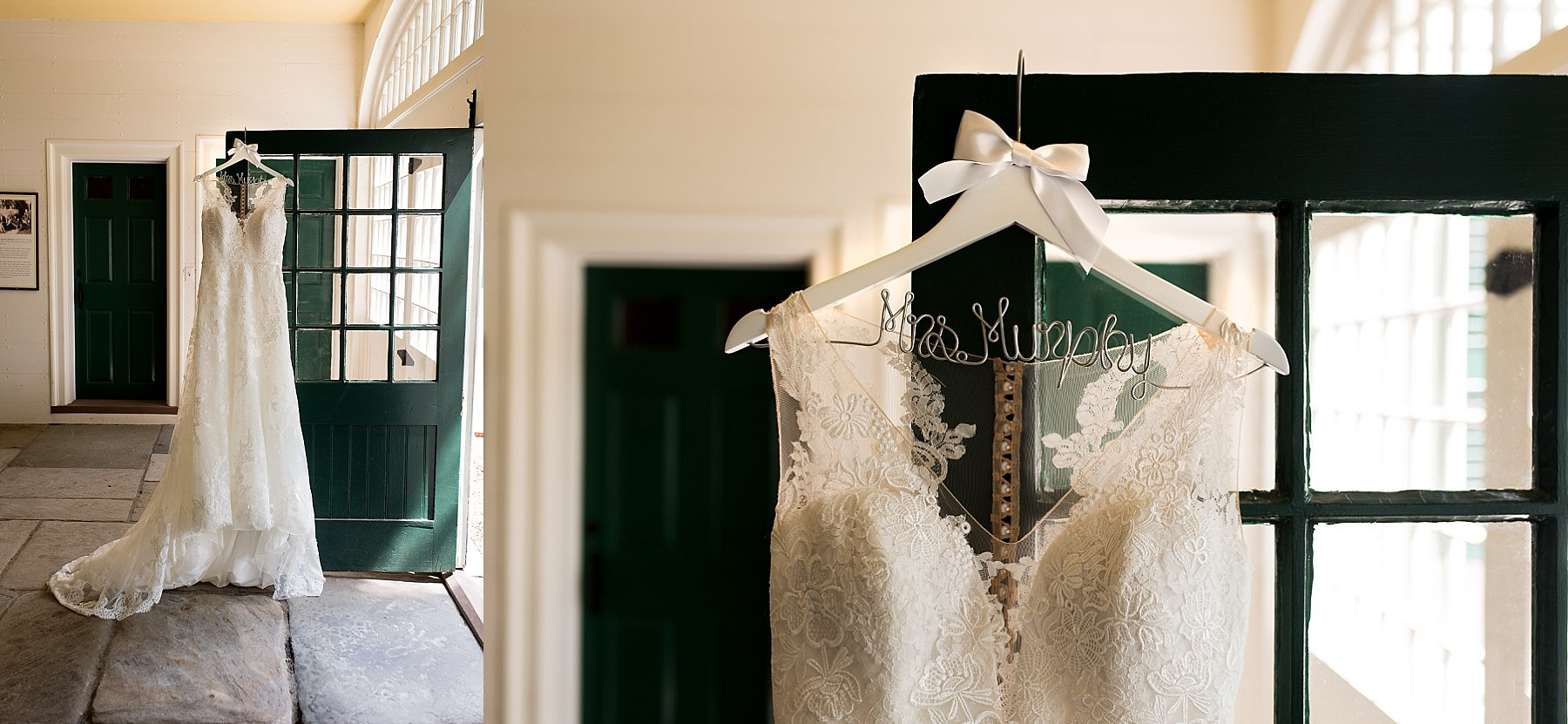 Bride's dress hanging from a green door at Hillstead Museum venue