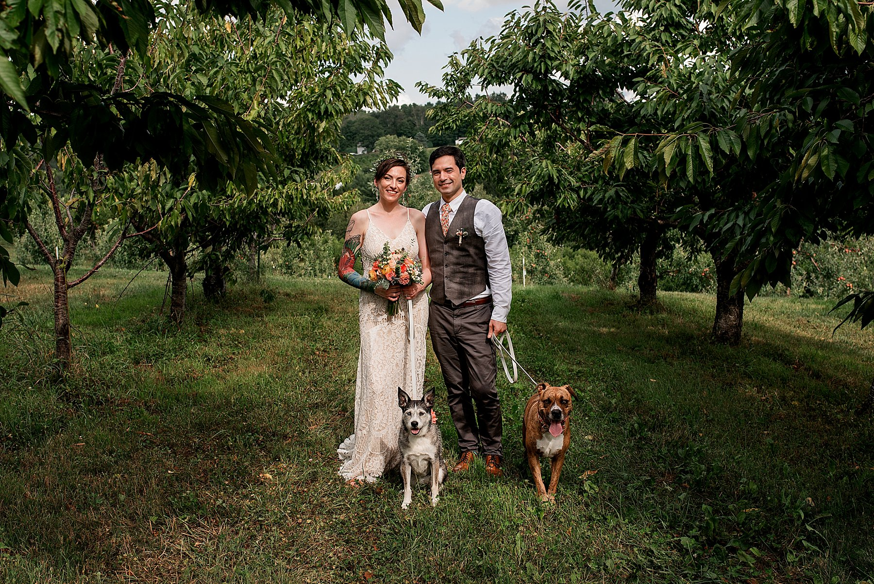 bride and groom on their wedding day at March Farms with their dogs