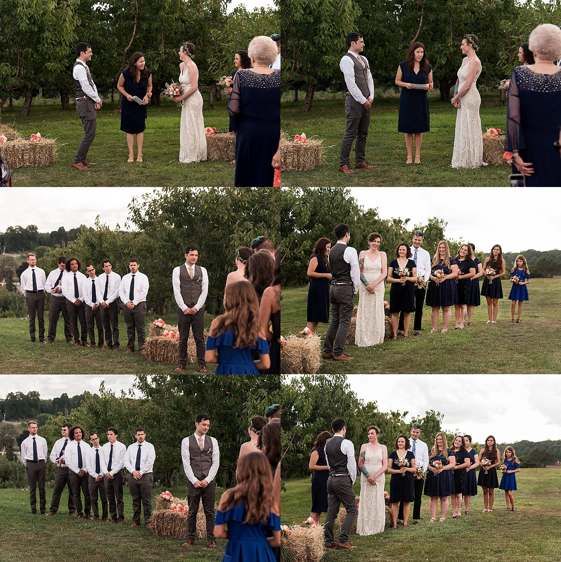 outdoor wedding ceremony at March Farms in Connecticut near the peach trees