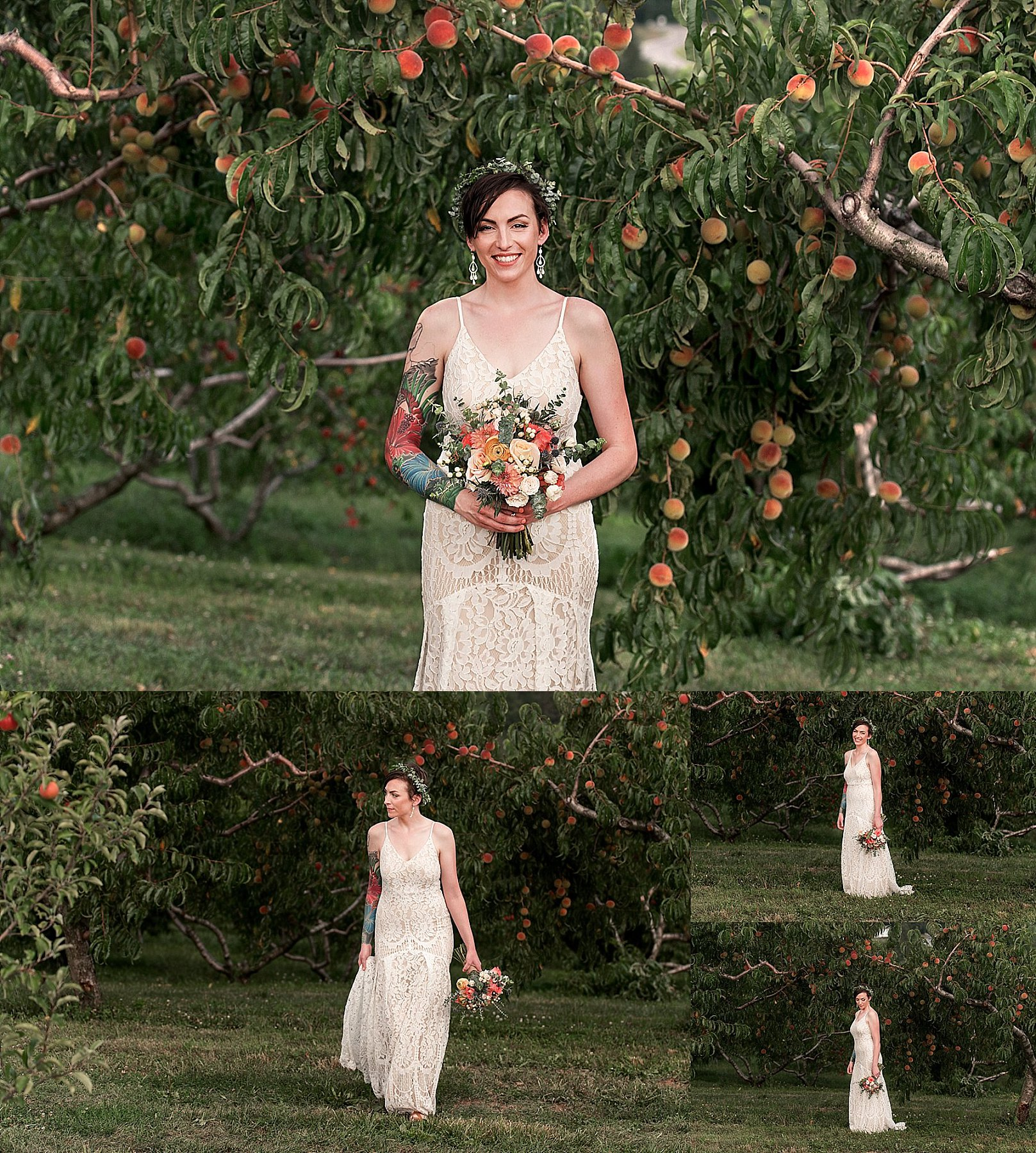 bride portraits in peach orchard at March Farms in Connecticut