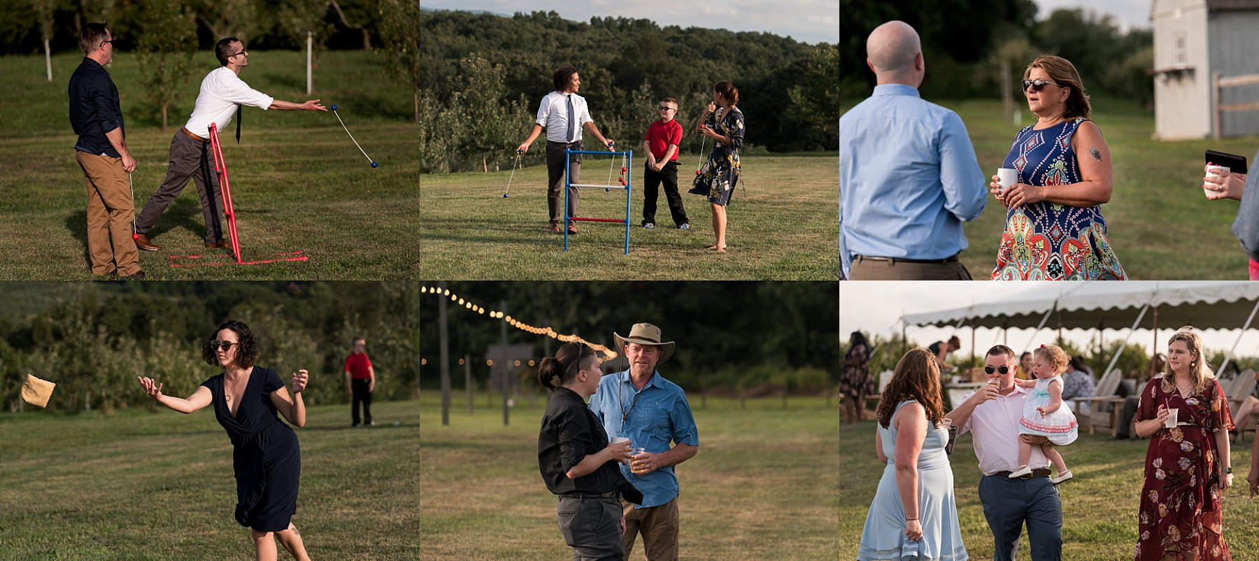 guests playing lawn games at intimate wedding in CT
