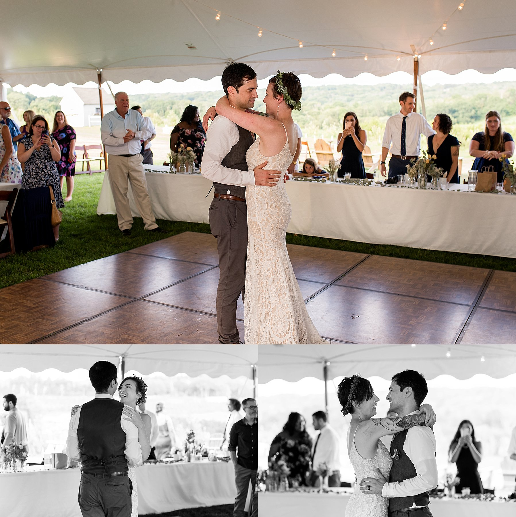 husband and wife first dance CT wedding photography