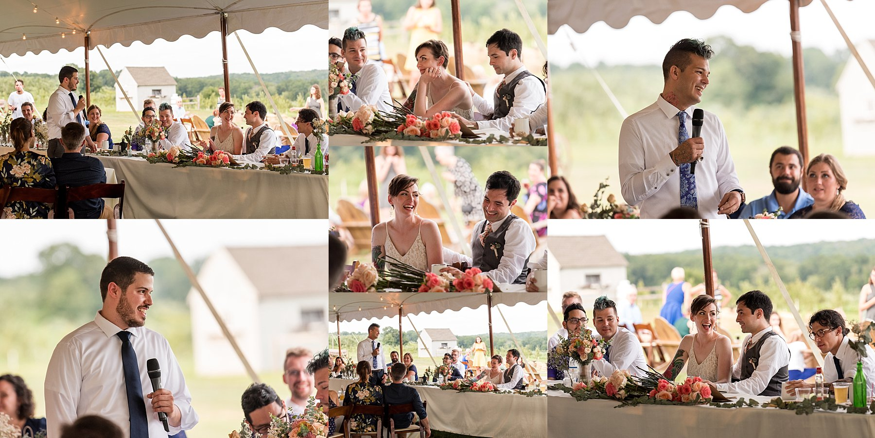 wedding day speeches at March Farms in Bethlehem CT