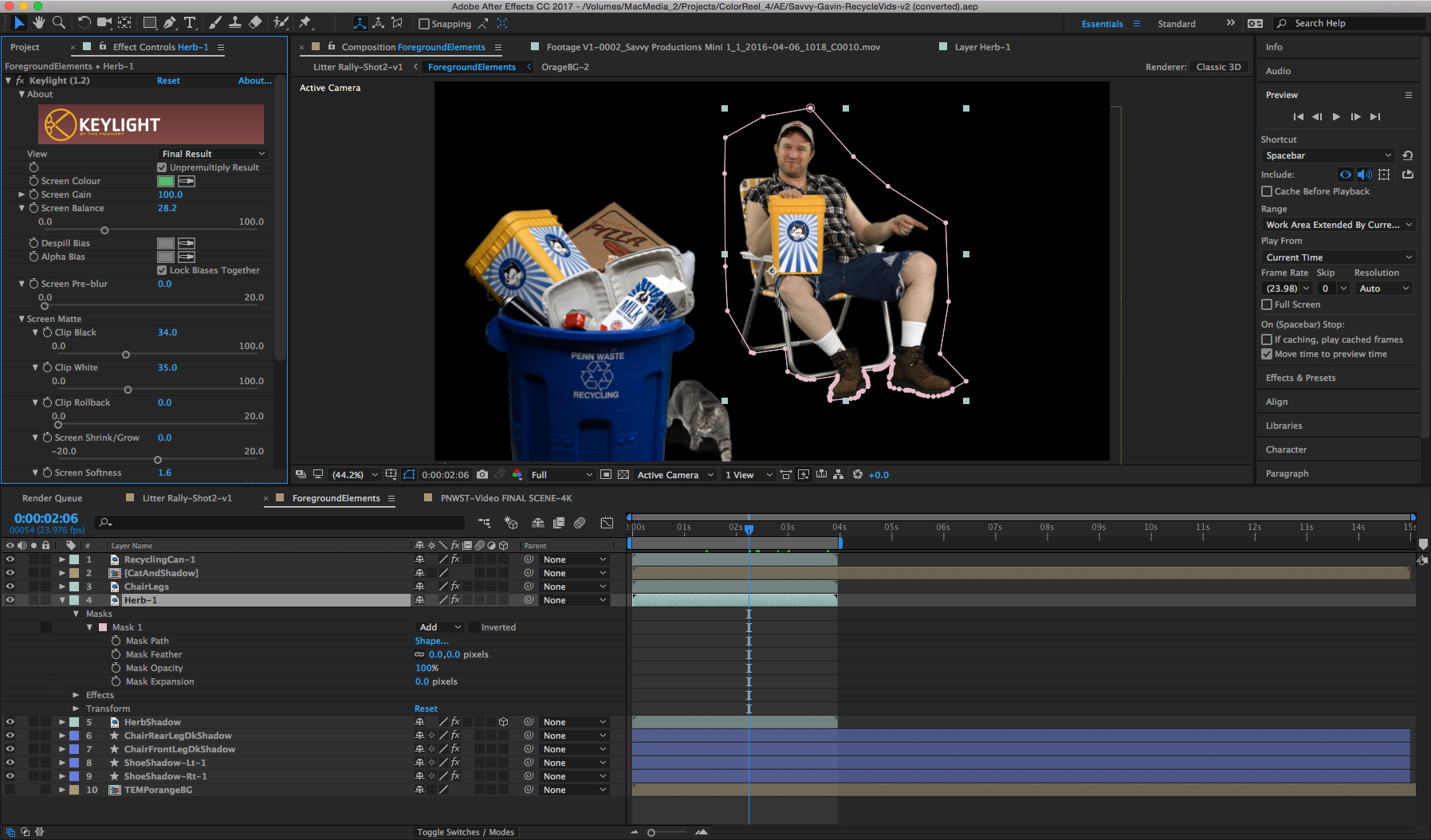 After Effects and Keylight