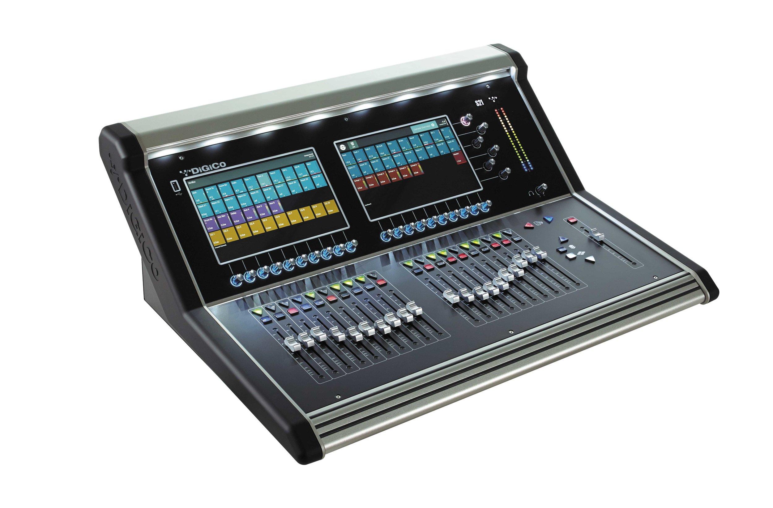 DiGiCo S21 - 24 mic line inputs, 96kHz Sample Rate, 48 Flexi Input Channels, 16 Flexi Aux / Sub-Group Busses, 8 Digital FX