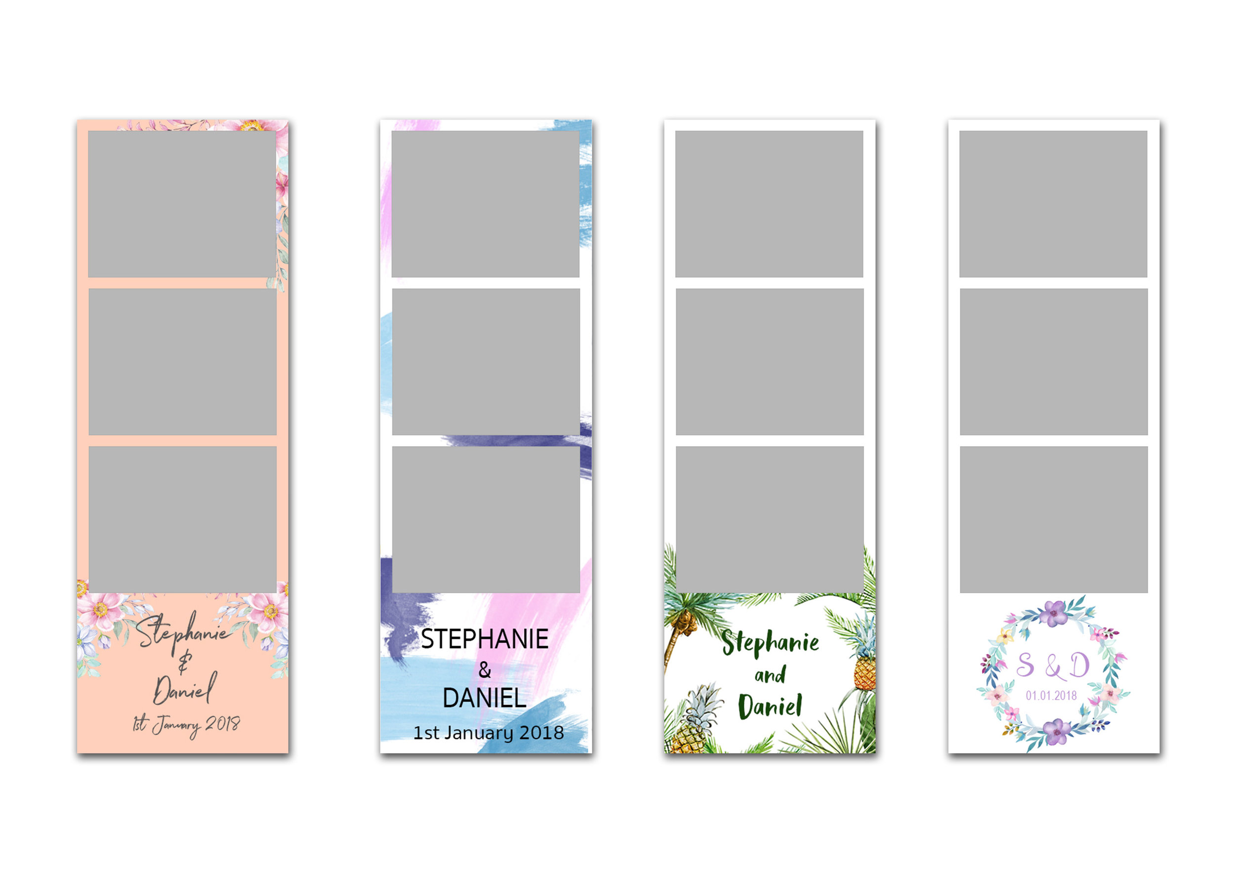 Photo Strip Design - Choose from a range of layouts and styles. Add your logo, personal message or custom create a print design that will perfectly complement your wedding style or party theme.