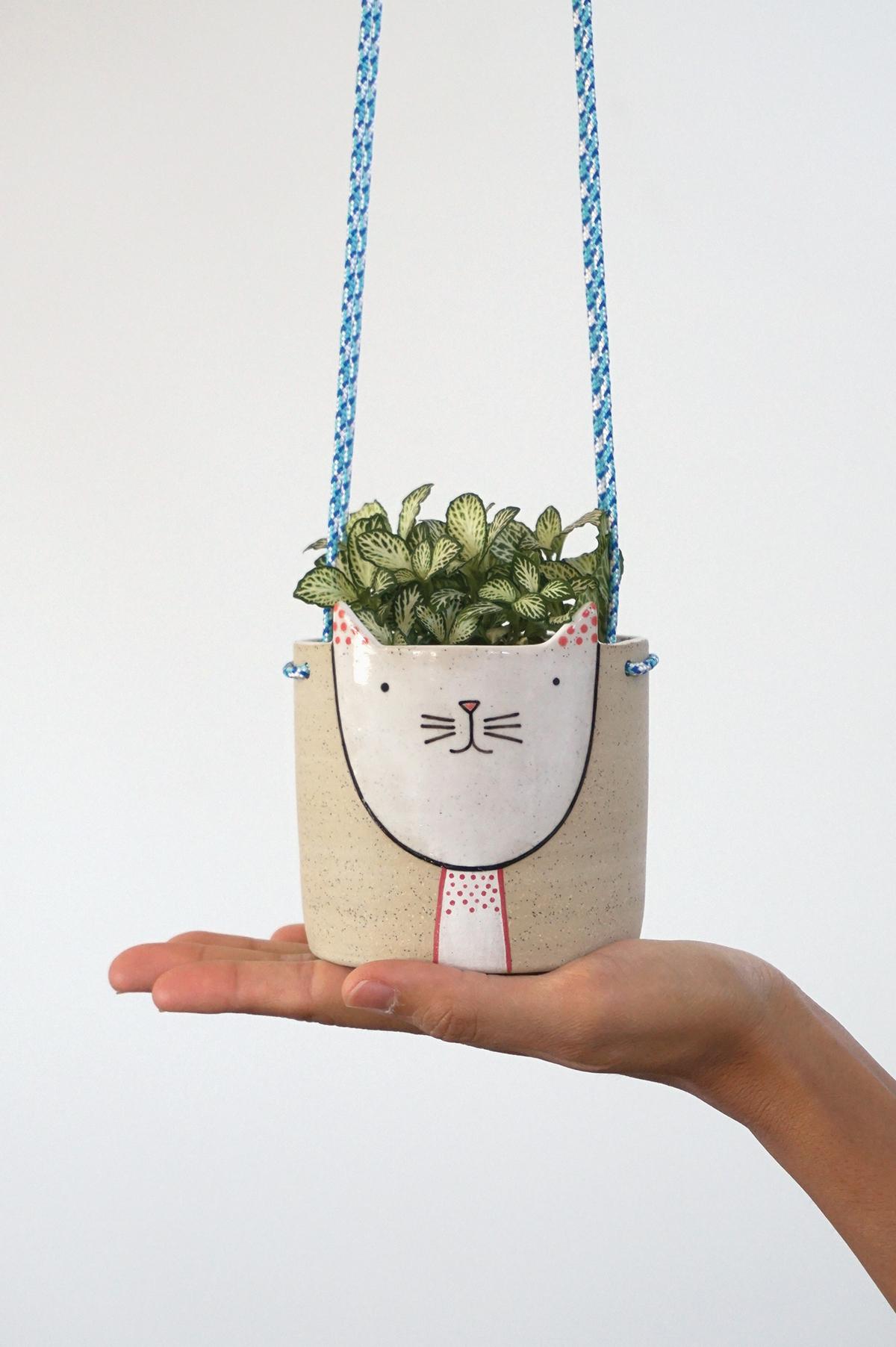 Hanging Kitty Planter $85