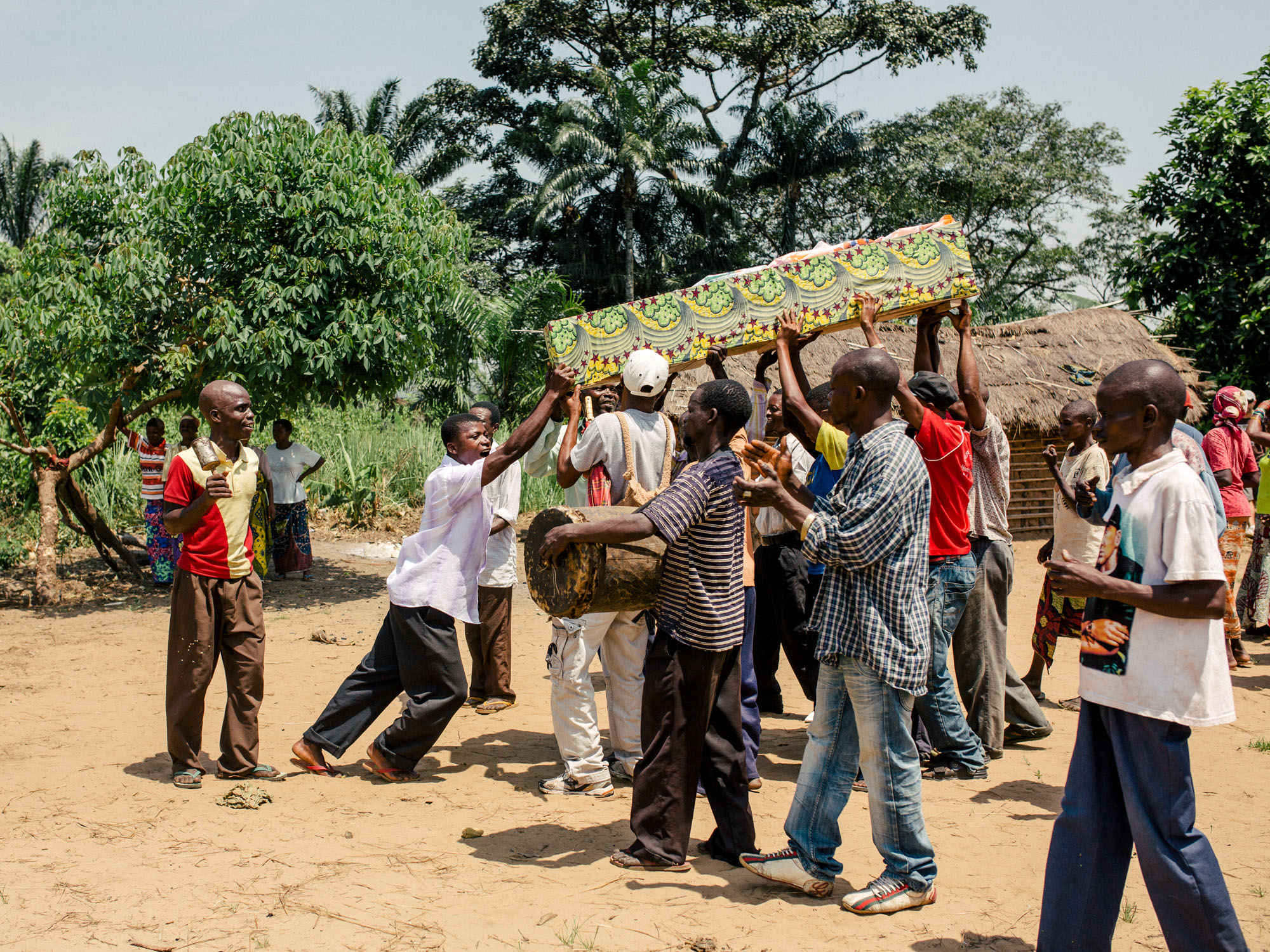 Coffin being carried to the cemetery.
