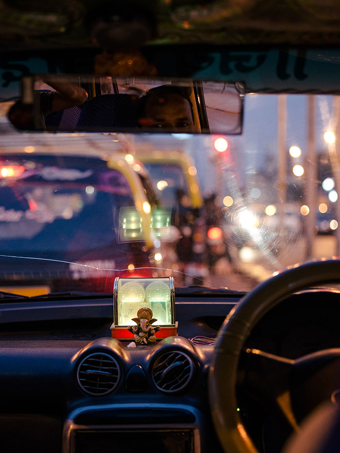 Interior of a Mumbai taxi.