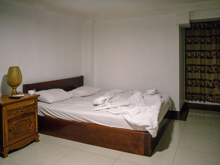 Hotel room in Phnom Penh, Cambodia.