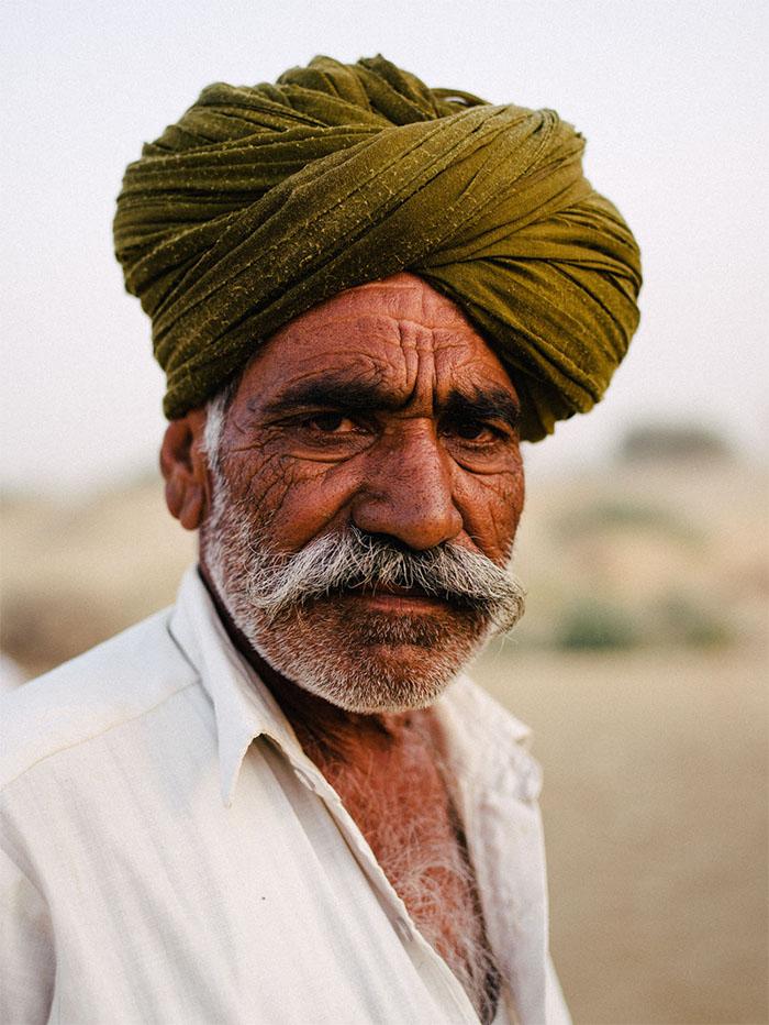 Portrait of a desert guide in Jaisalmer.