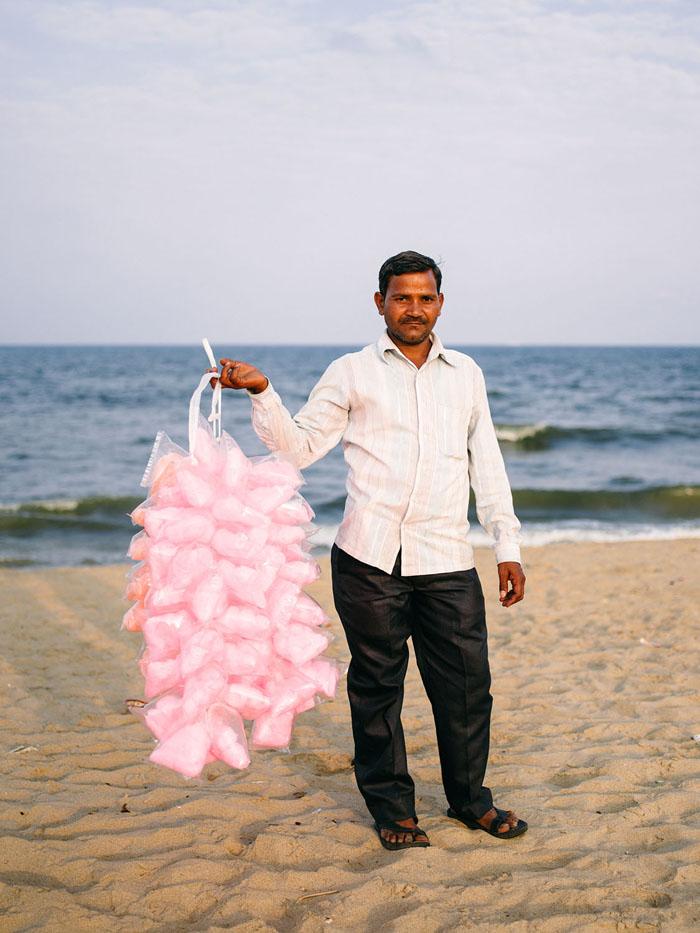 Portrait of a cotton candy vendor in Chennai.