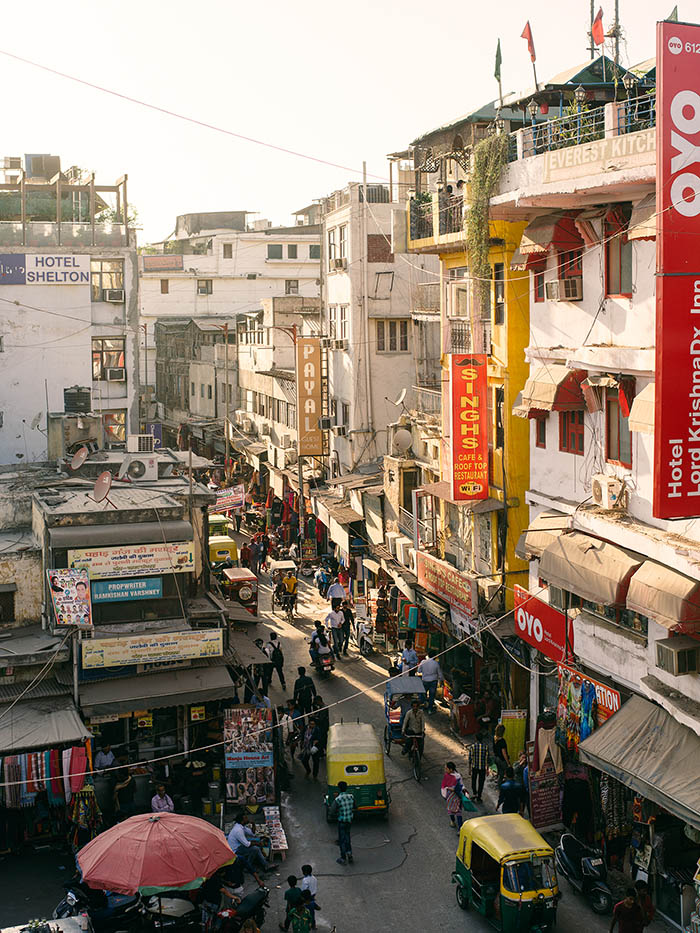 The bustling streets of Delhi.