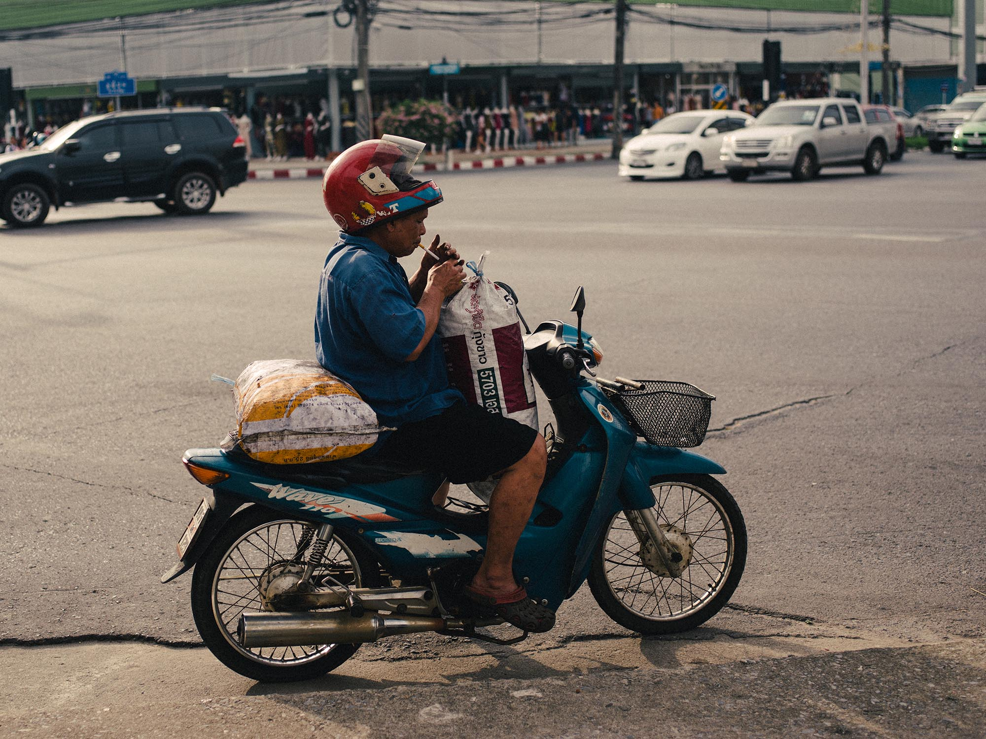 Motorbike smoking.