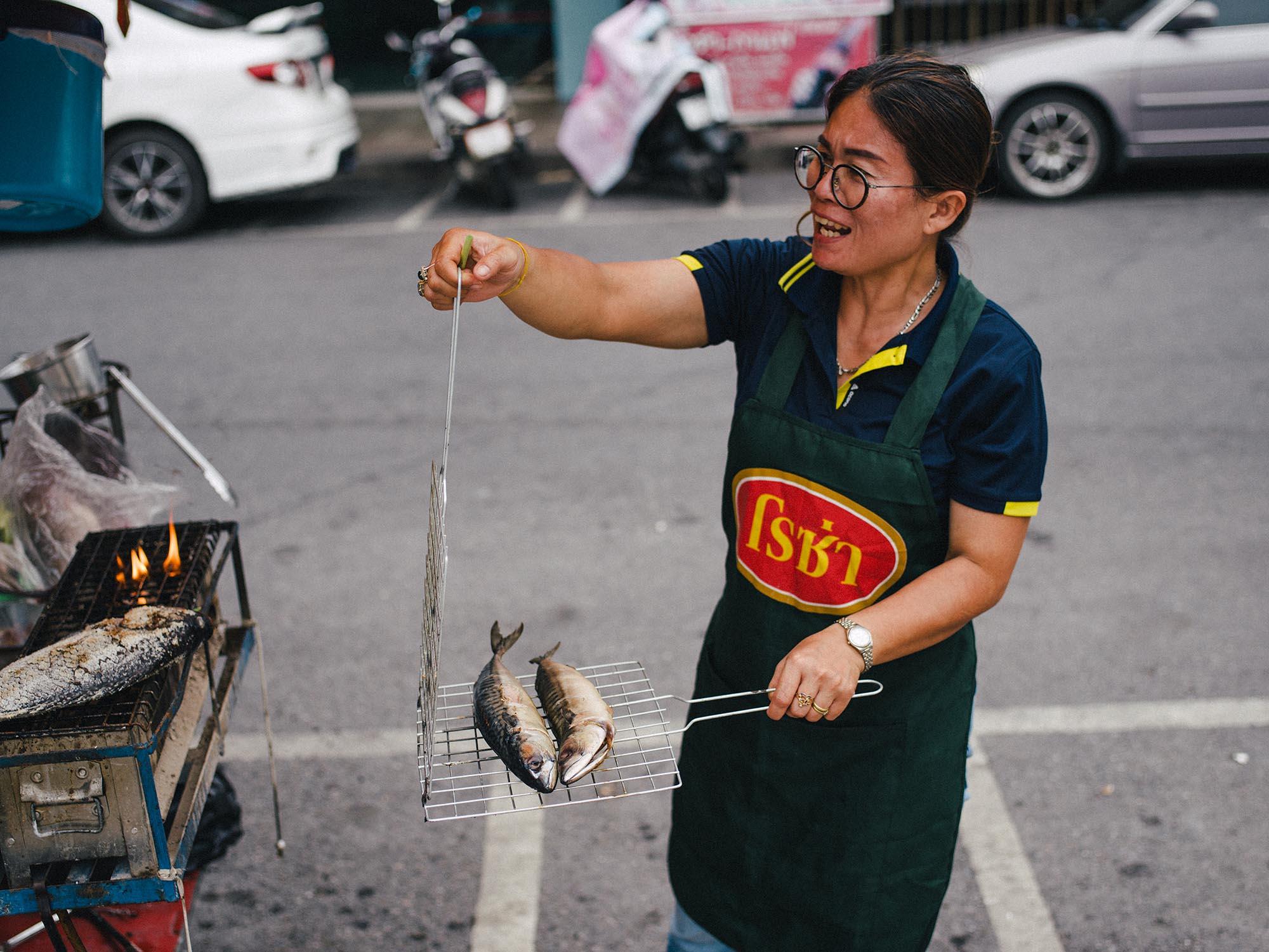 Selling fish.