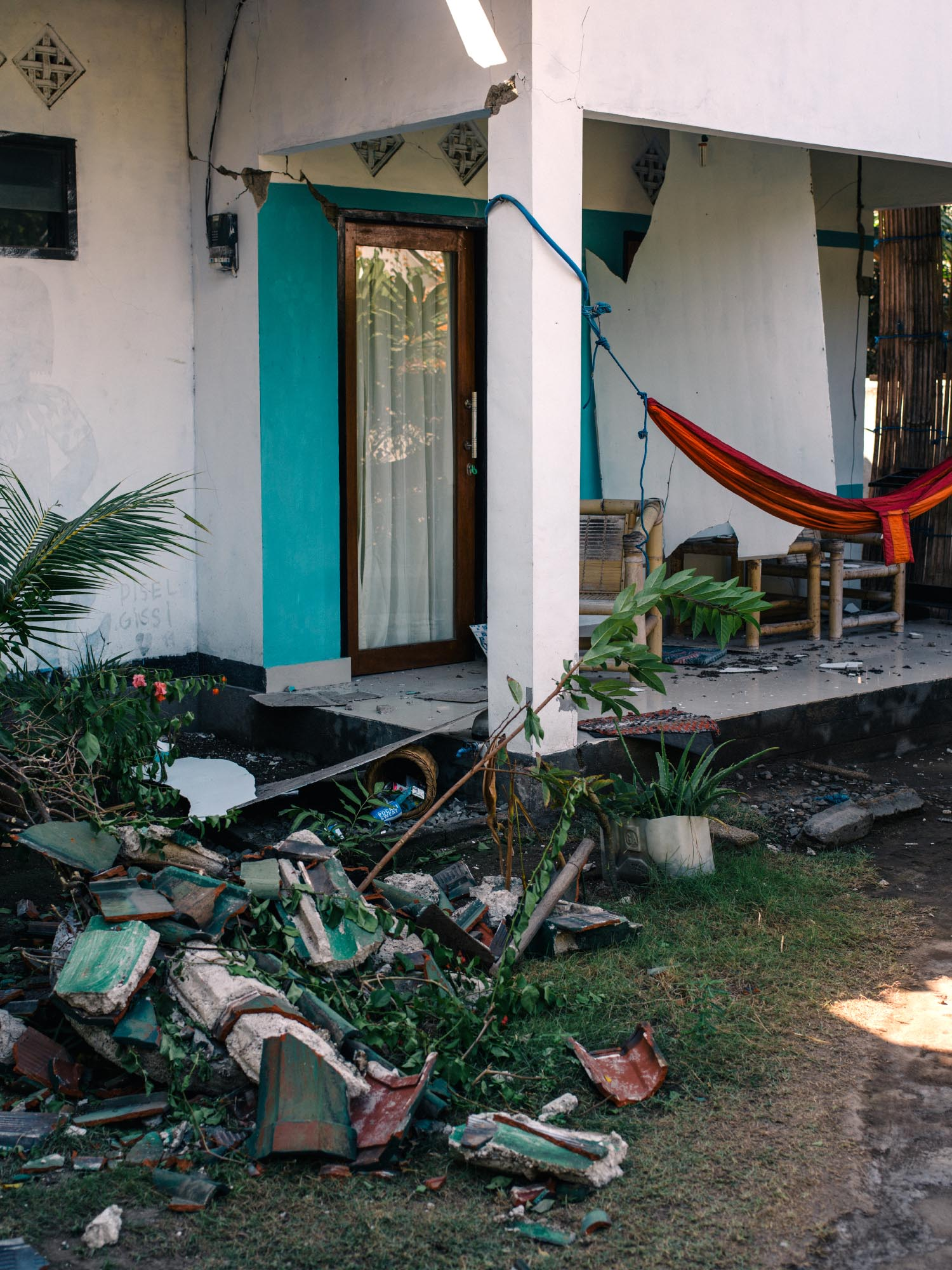 Damage to the bungalows from our guesthouse.
