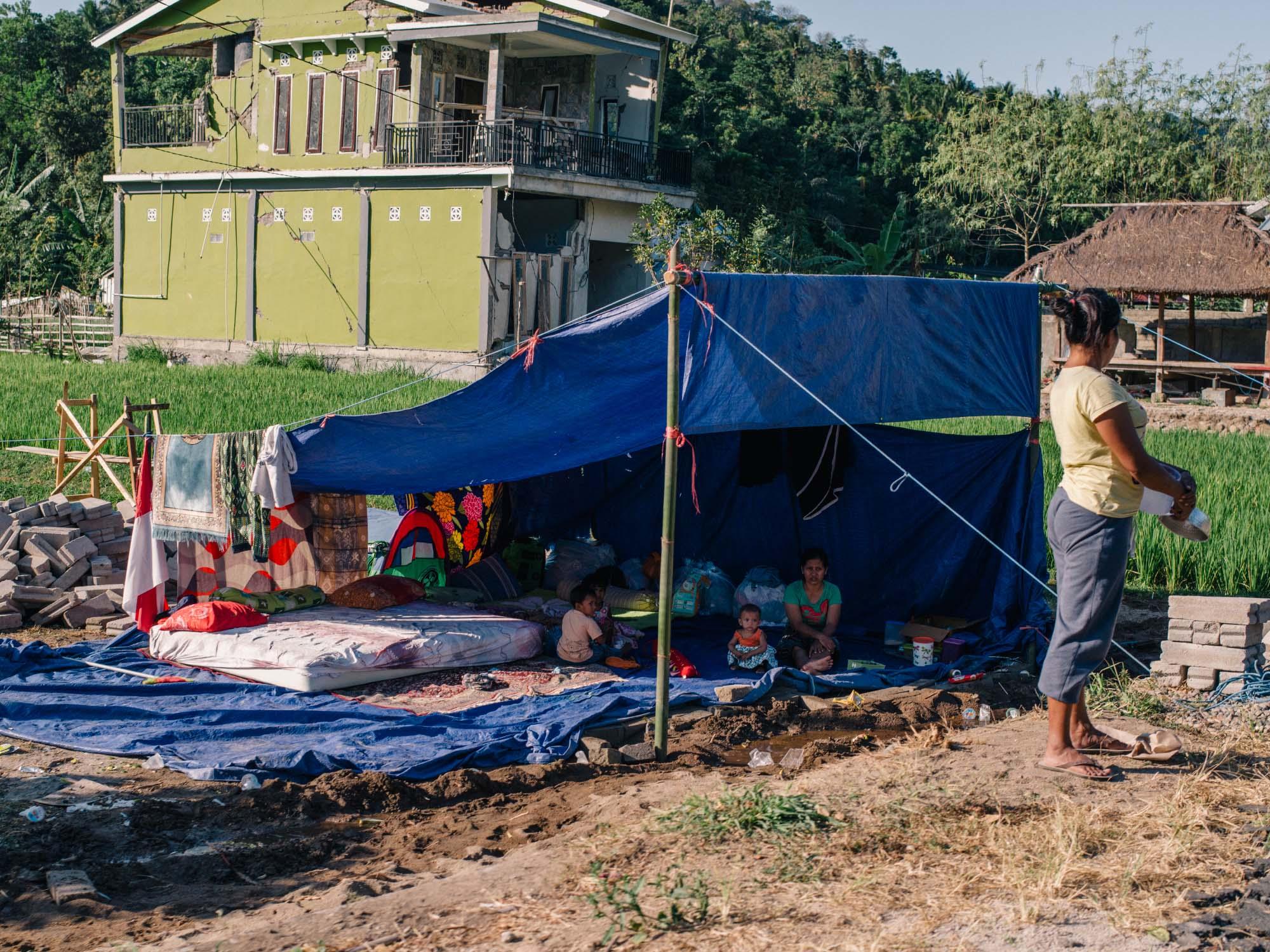 People sleeping outside on Lombok.