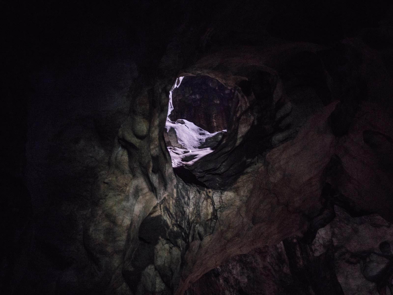 The slightest amount of daylight entering the cave at some places...