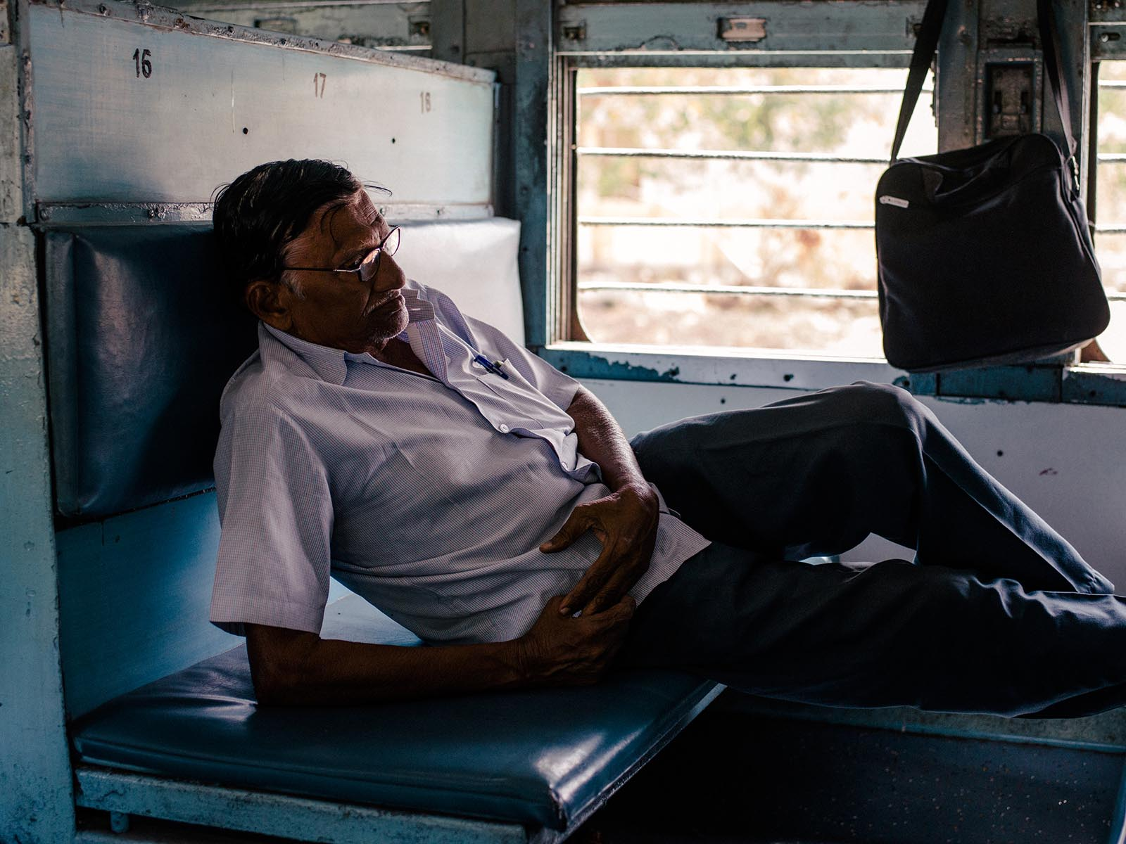 On a train from Madurai to Trichy.