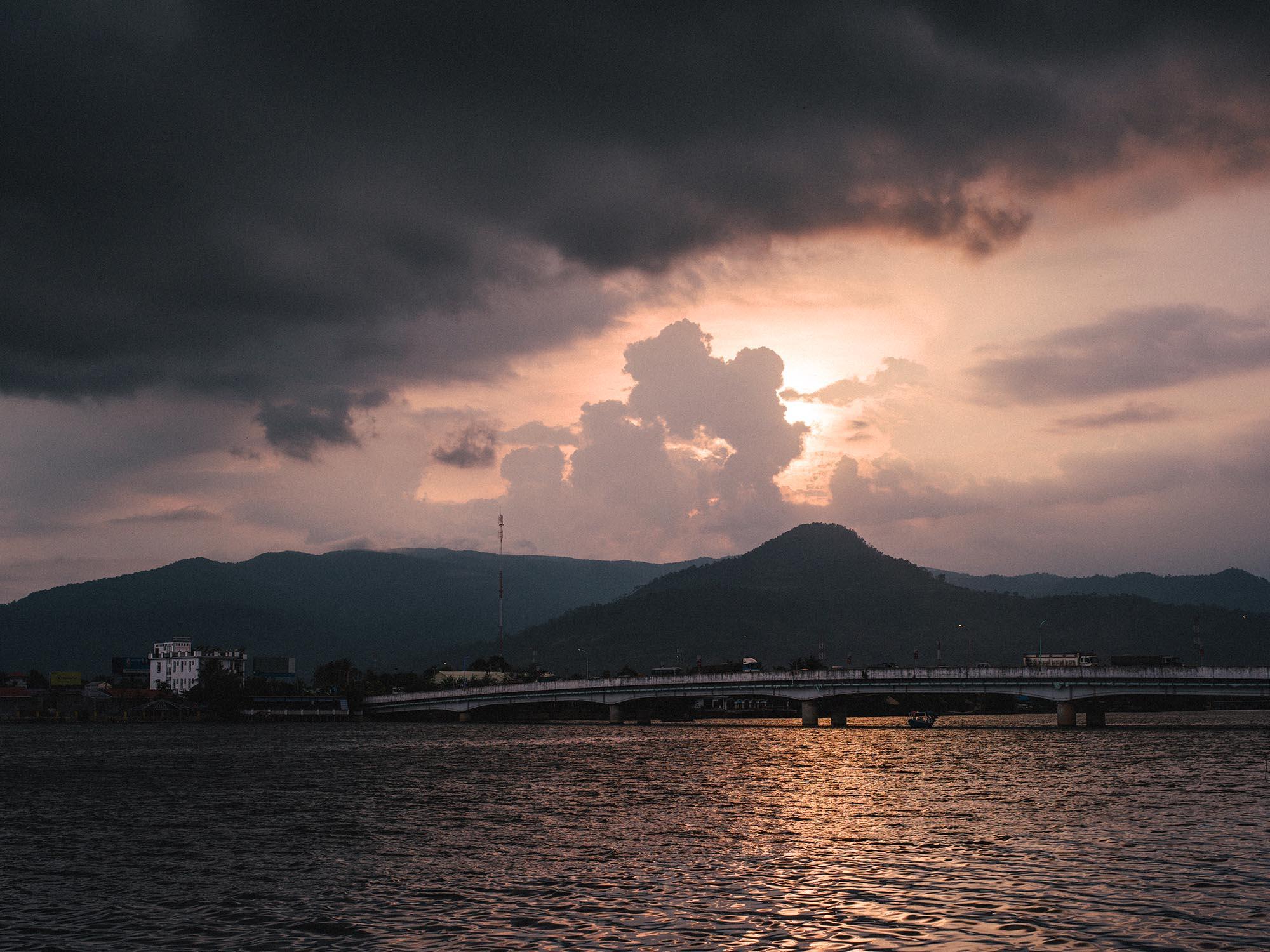 Sunset in Kampot, Cambodia.  Photography by    Joris Hermans.