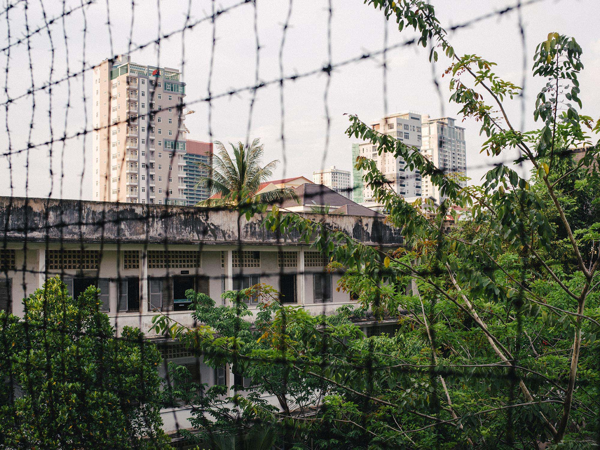 View from one of the buildings of the S21 prison in Phnom Penh.
