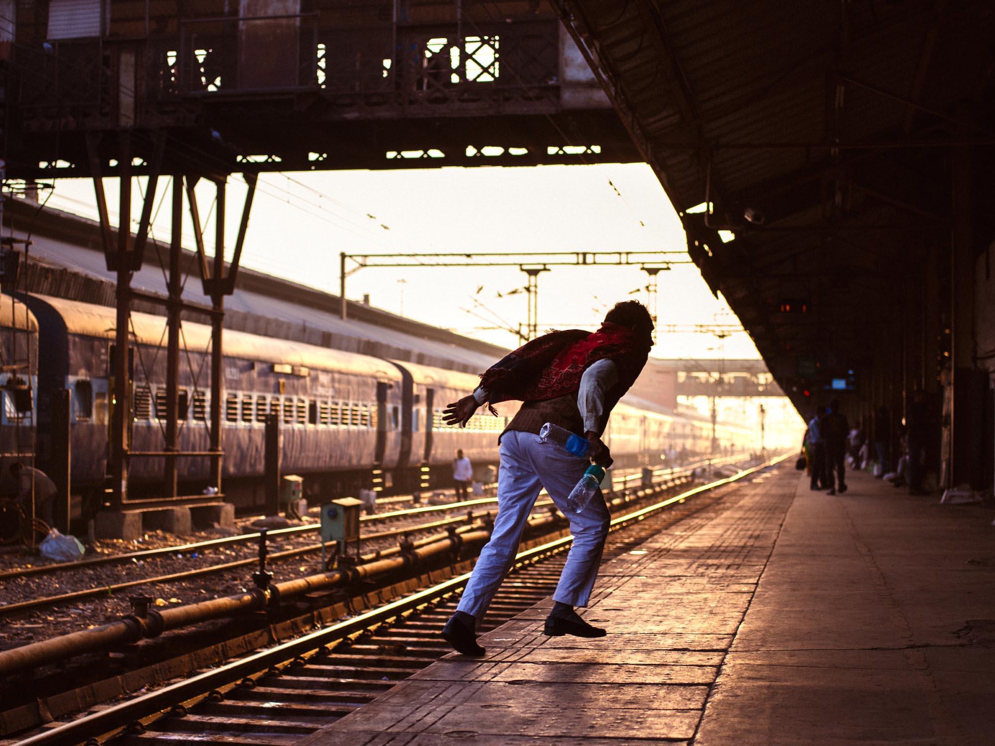 Old Delhi Railway Station, India.  Prints available on Saatchi Art.