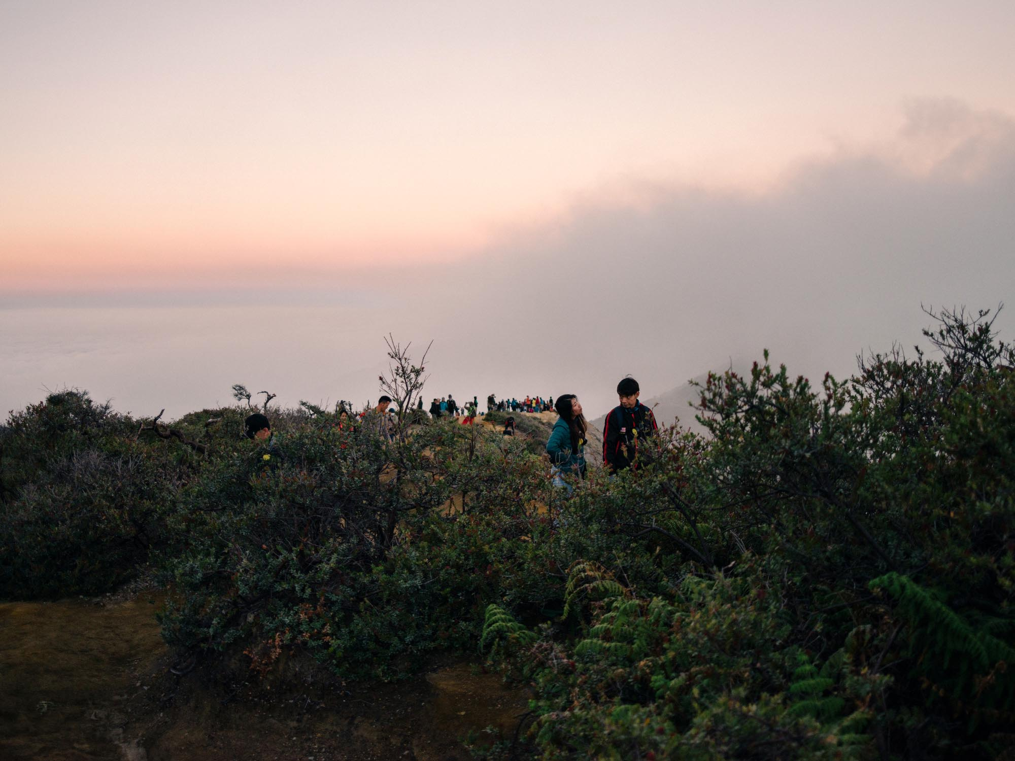 The sunrise at the rim of Mount Ijen.