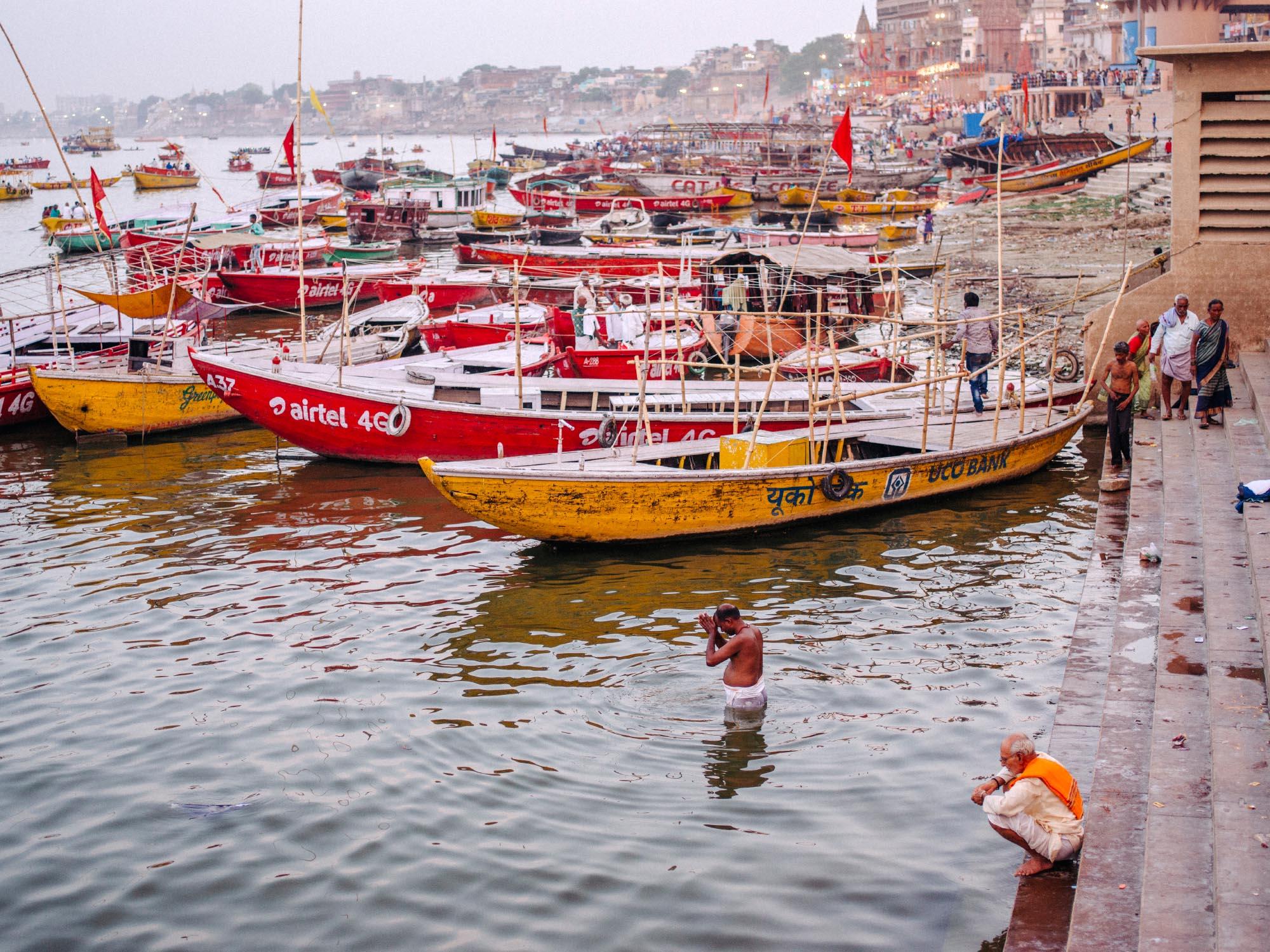 Man praying in the Ganges.
