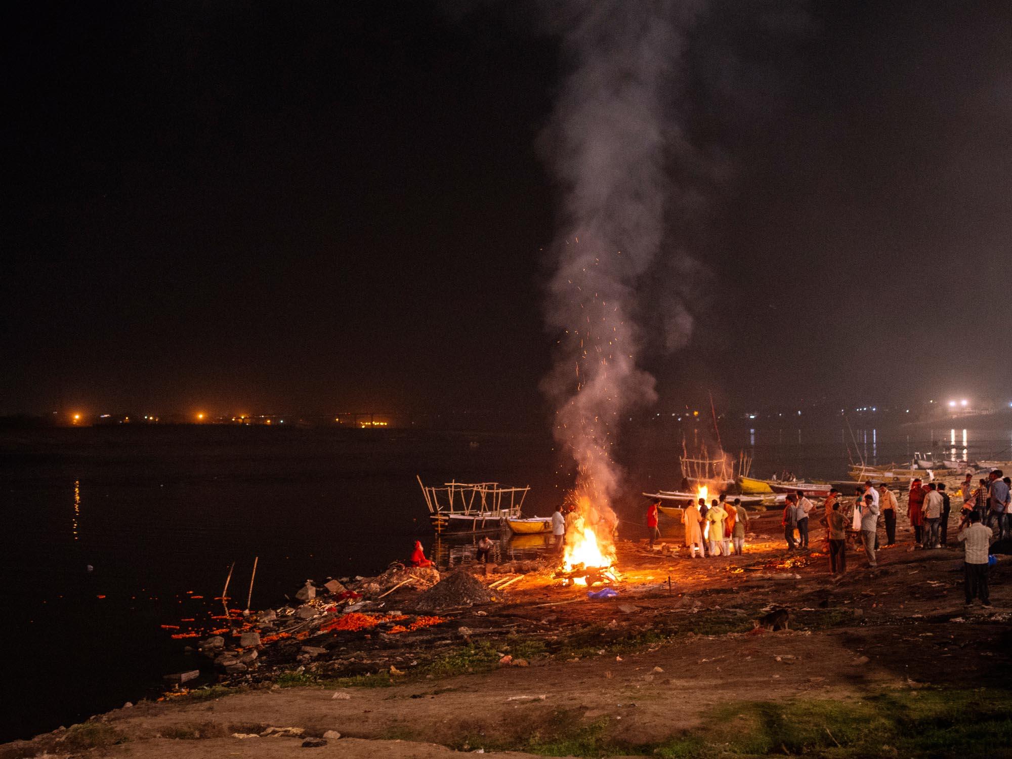 Burning ghat after dark.