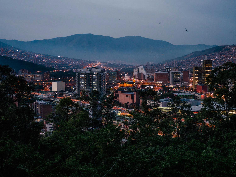 Medellín after sunset from Cerro Nutibara viewpoint.