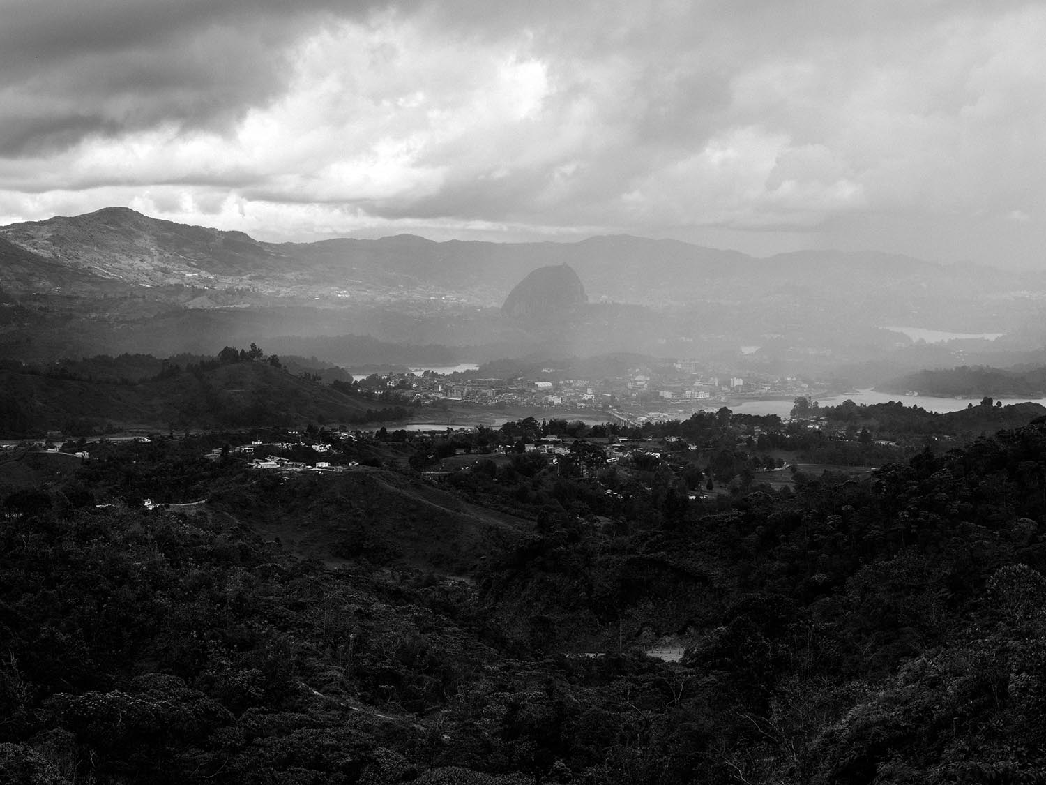 View at the end of the hike overlooking Guatapé. The Piedra del Peñol in the distance.