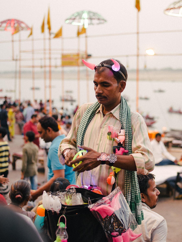 Vendor at the Dashashwamedh ghat.