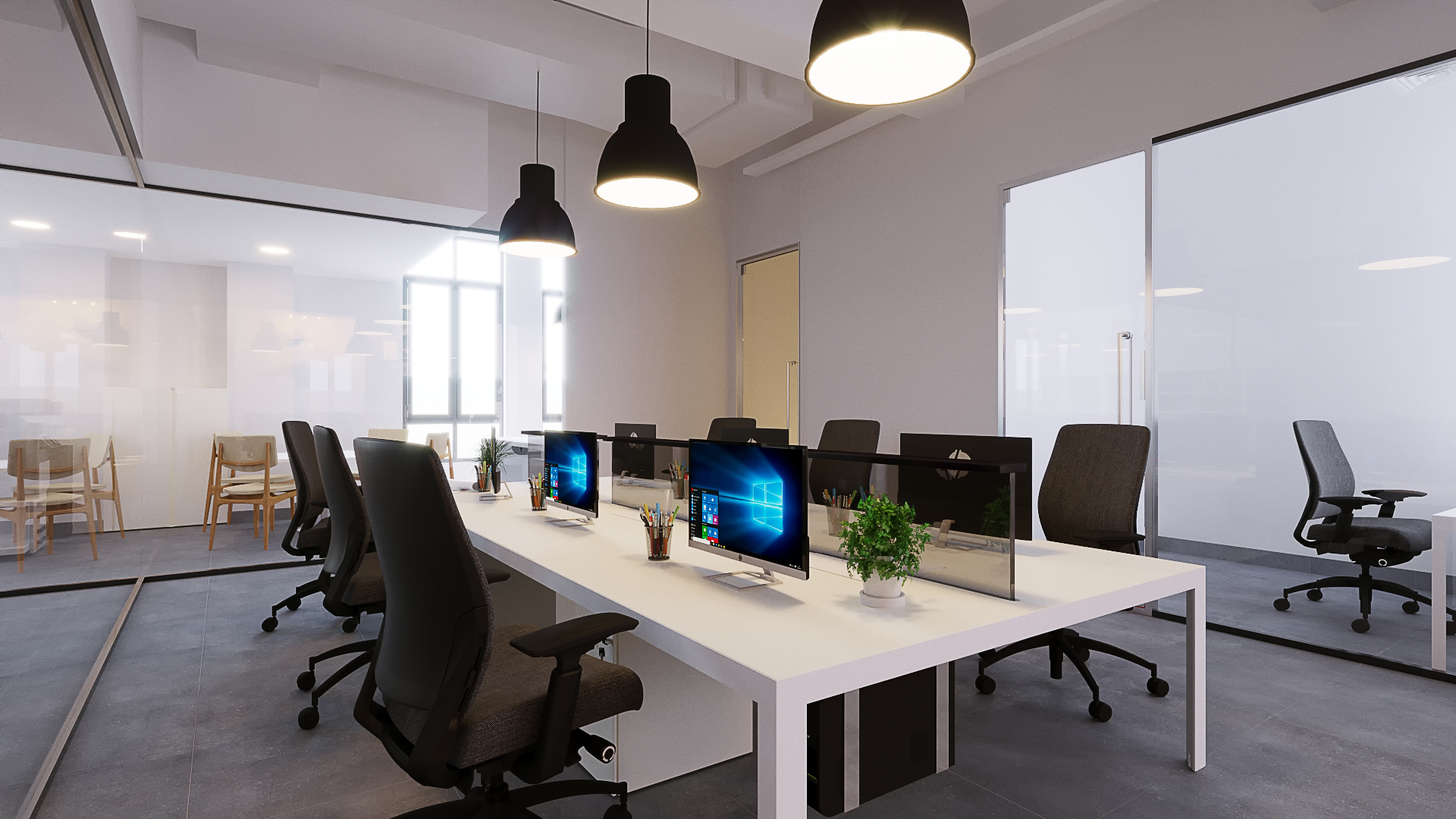 CAPTAIN   OMR 500/month - LEASED OUT   Enclosed, lockable office can accommodate teams of 2-7. Move-in ready, with desks, chairs, and a filing cabinet. This office has a private space for the captain and a store in addition to the main workstation.  Best for:  -Established teams