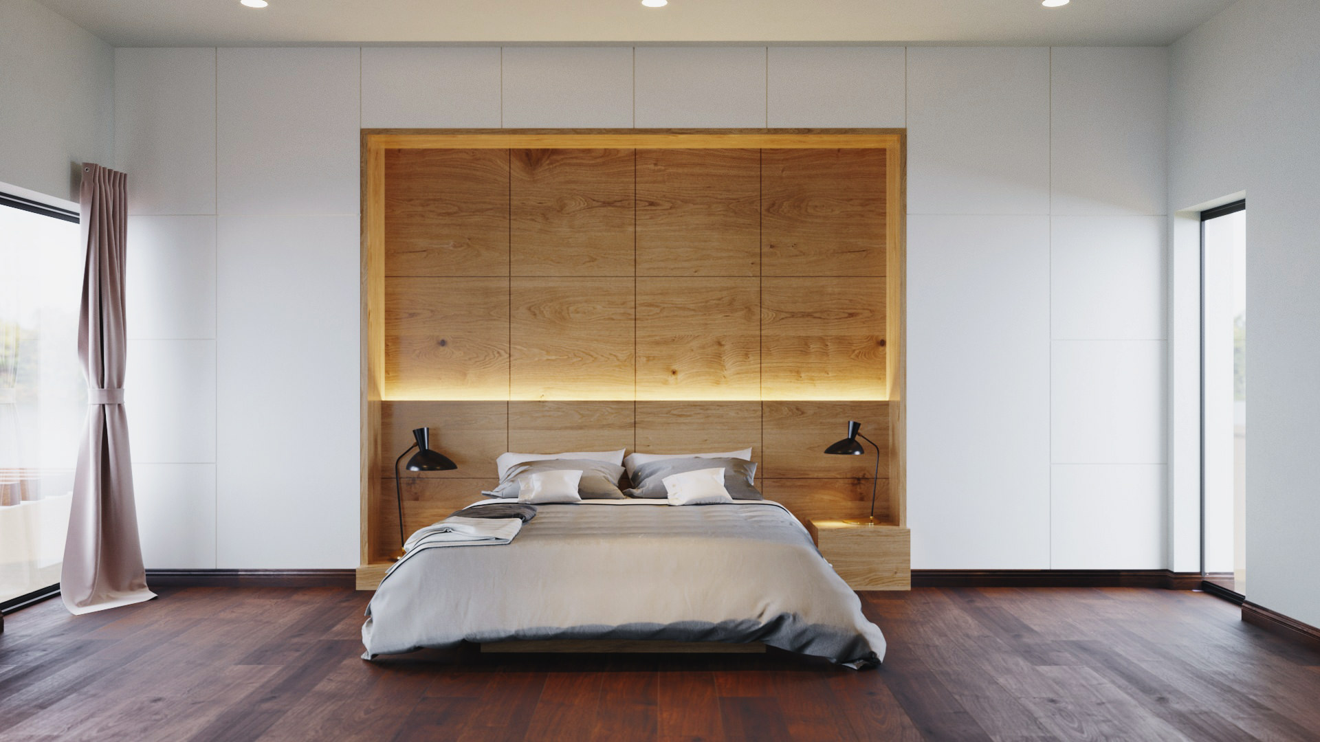 The couple's minimalist effect on their master bedroom.