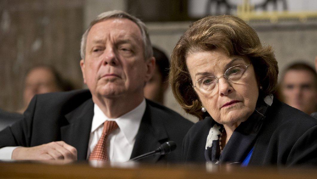 Senator Richard Durbin (D-Illinois) and Senator Nancy Feinstien (D-California) at U.S. Senate Judiciary Hearing for the confirmation of Professor Barrett.