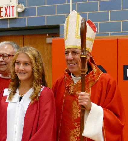 Bishop James Checchio of Metuchen at Confirmation Mass in New Jersey.