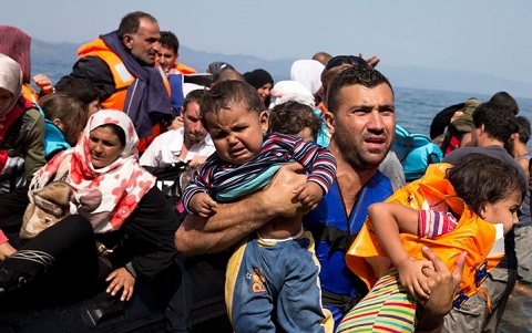 Refugees on the move in the Middle East.