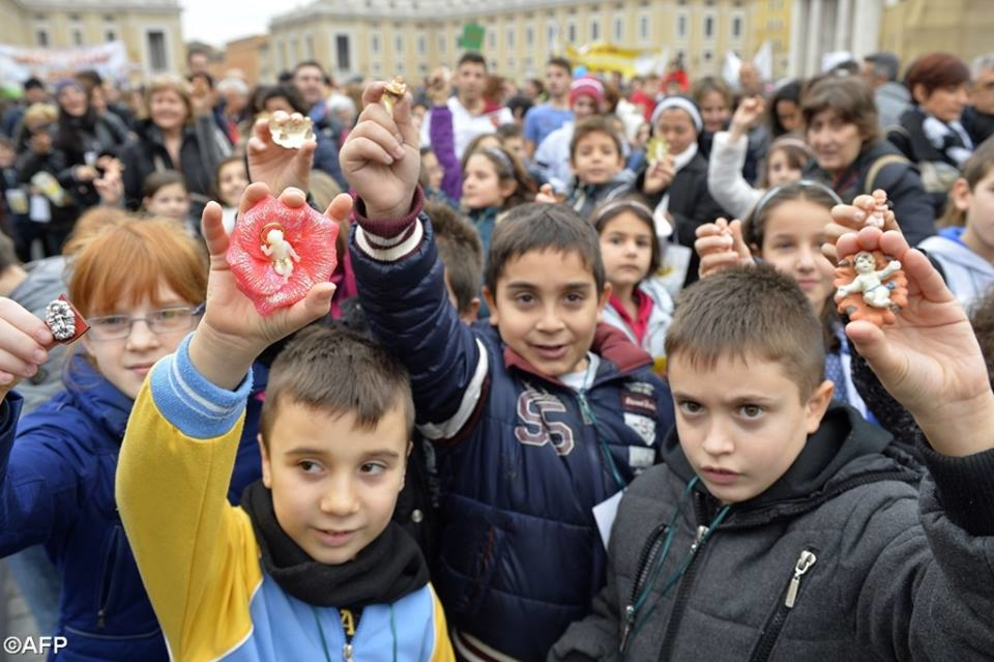 Italian Children at the Bambinelli Blessing in Rome.