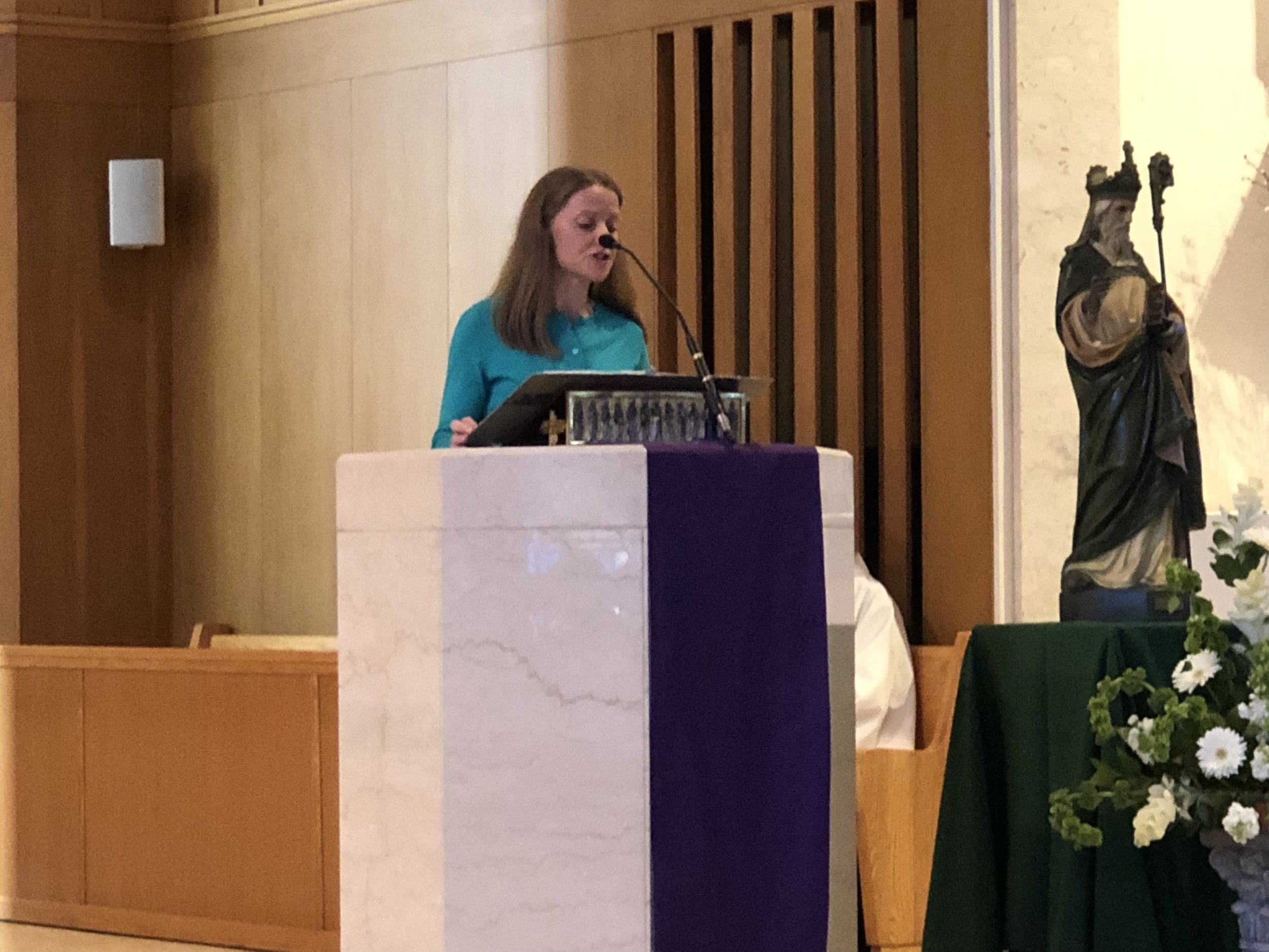 OLM Lector, Sinead Campion, offers the readings in her native Irish.