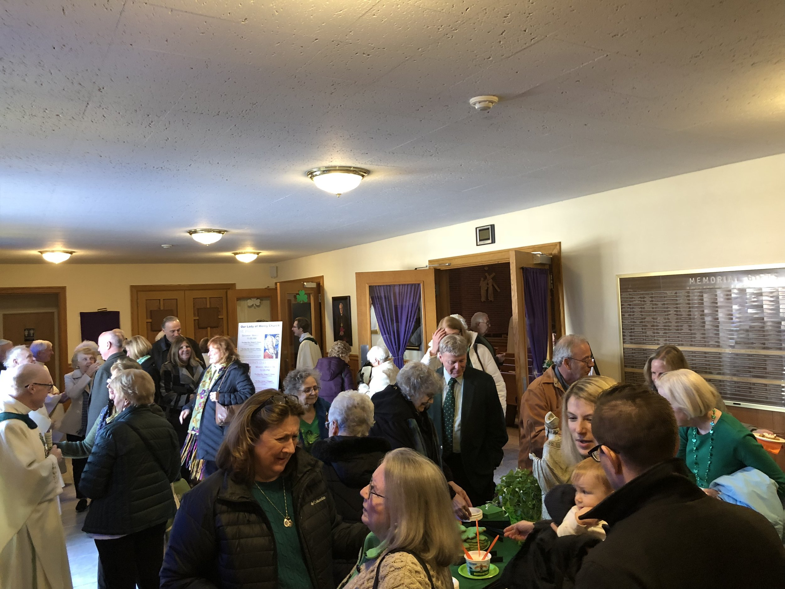 OLM Parishioners and guests celebrate St. Patrick's Day!